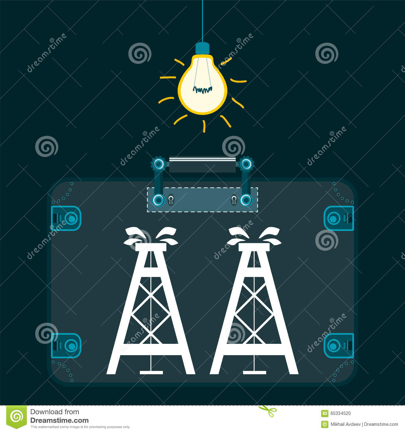 Dark room with light bulb - Oil Rig In A Suitcase In A Dark Room With Light Bulb Stock Vector