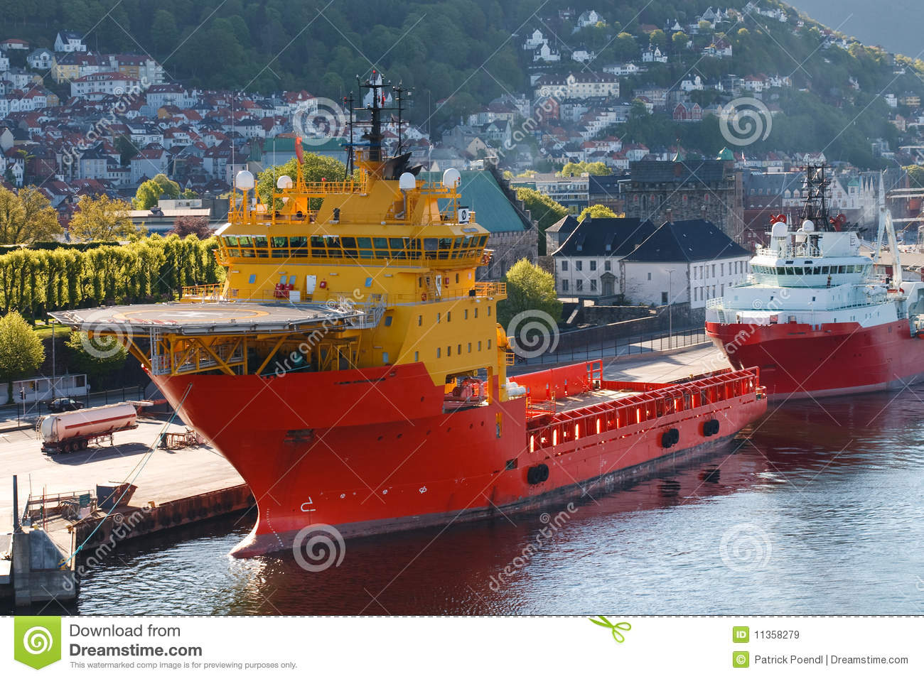 Oil Rig Supply Boat At Bergen Harbor, Norway Royalty Free Stock Images ...