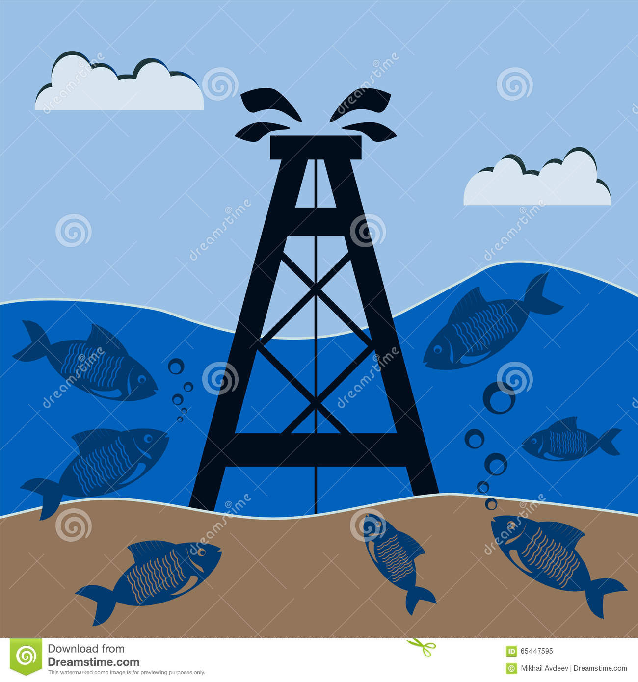 Oil rig under water with the fish. Mineral production