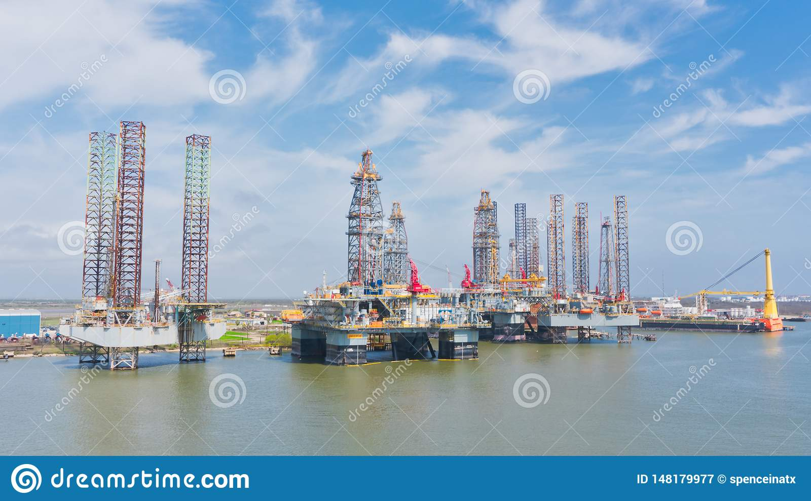 Oil rigs at the port