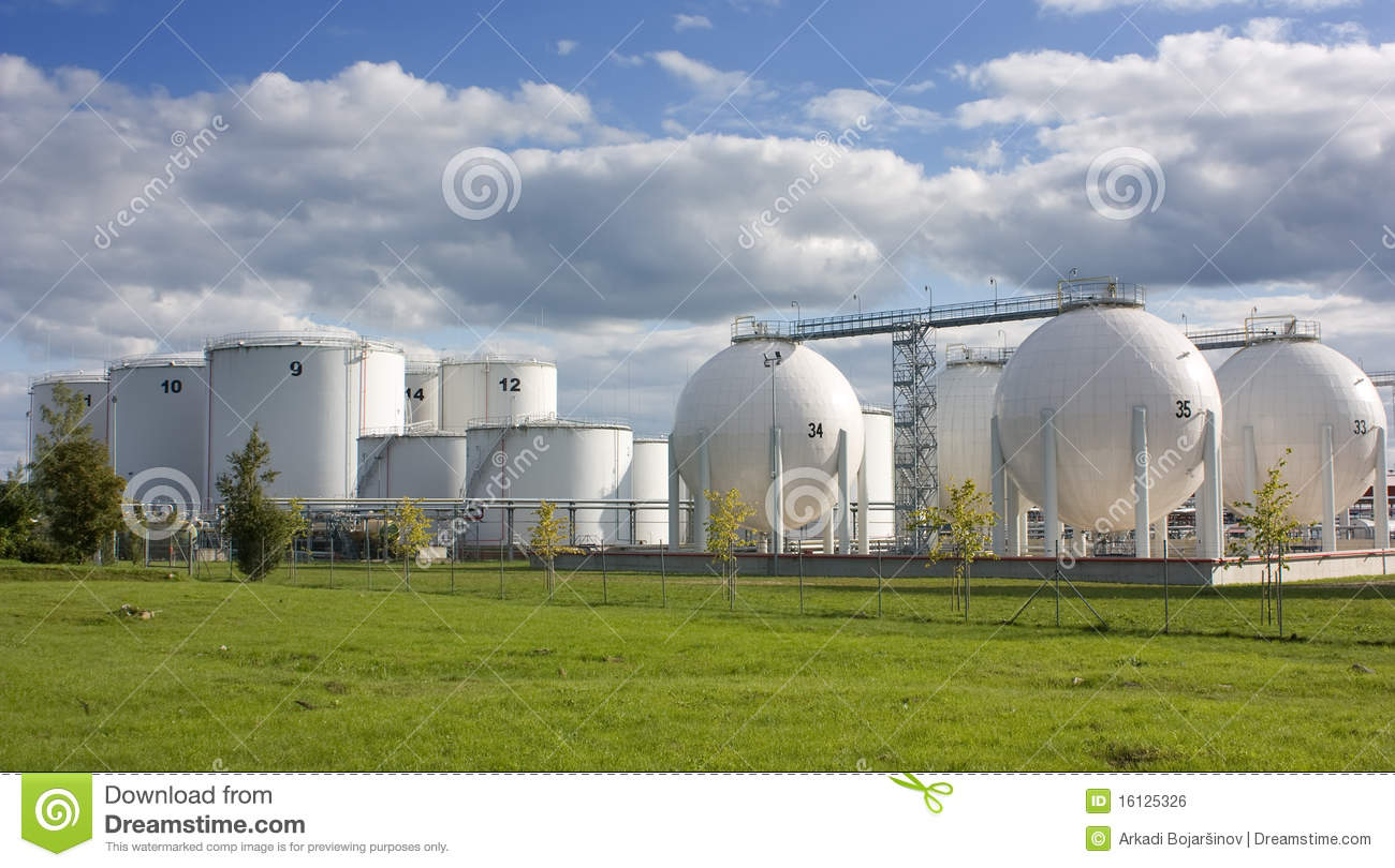 Oil storage tanks stock photo  Image of containers, depot