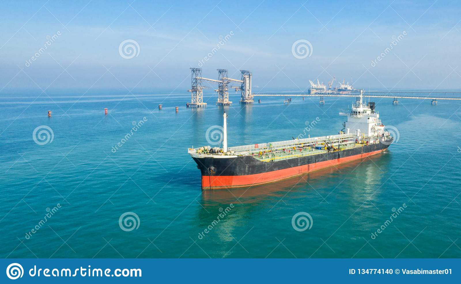 Oil tanker, gas tanker in the high sea.Refinery Industry cargo ship,aerial view,Thailand, in import export, LPG,oil refinery,