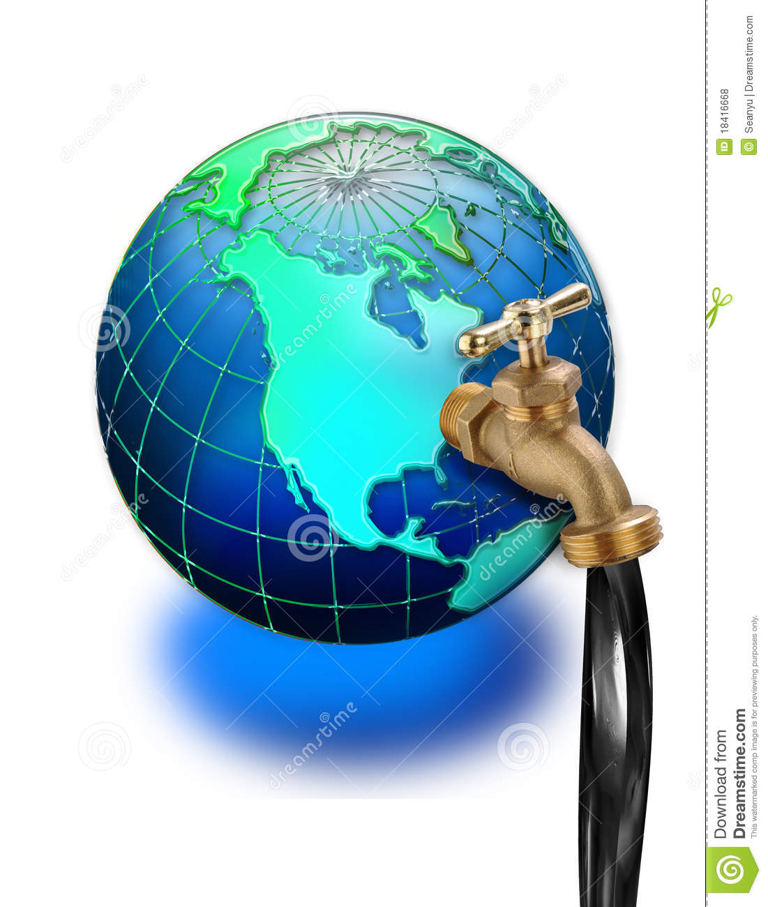 ... attached to North American continent on world globe; white background