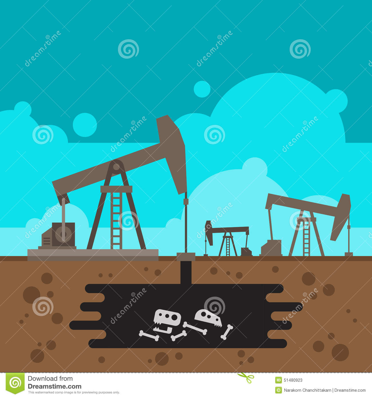 Underground Vector Oil Well Drilling With...