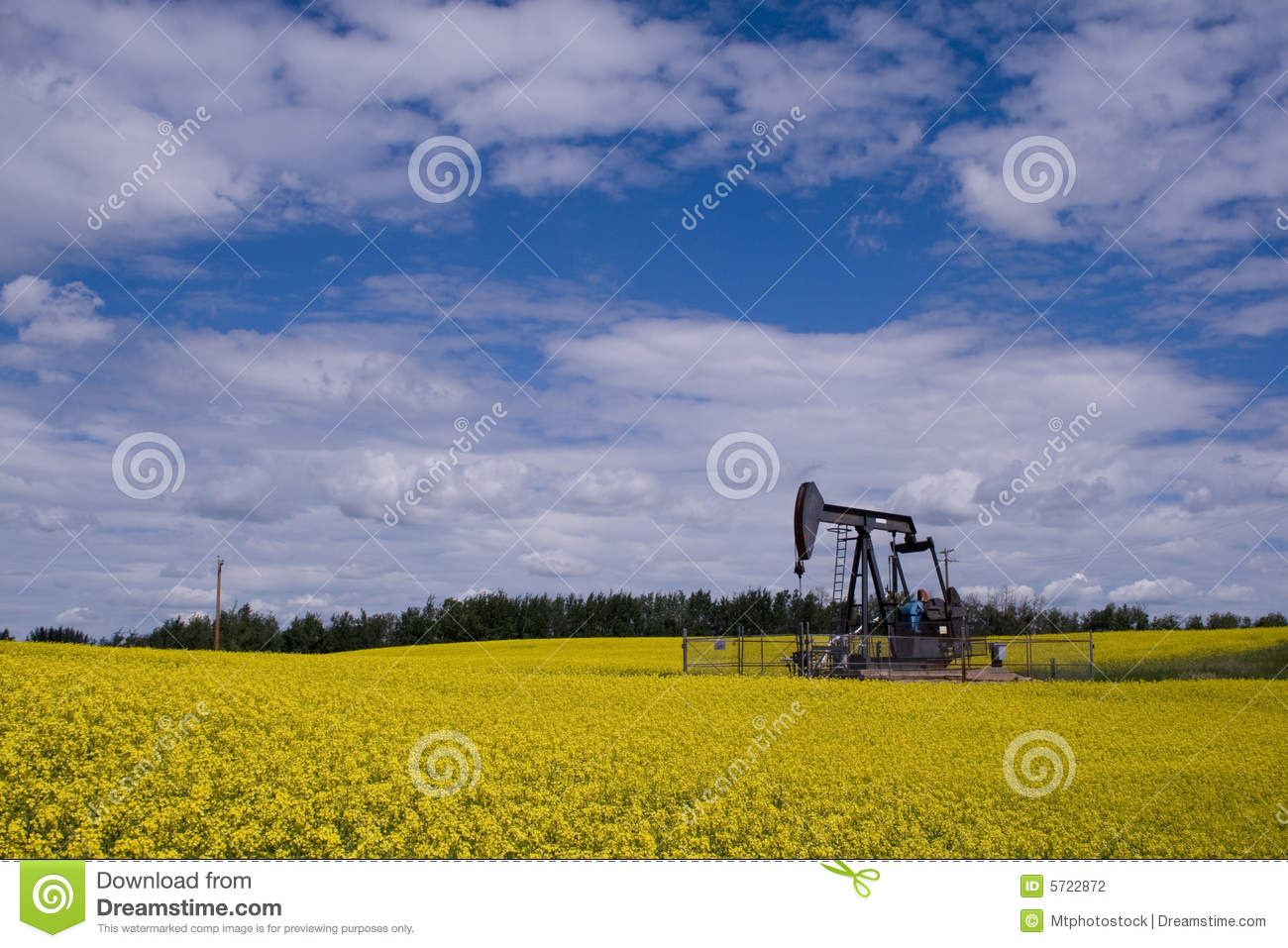 Oil well pump jack in yellow f