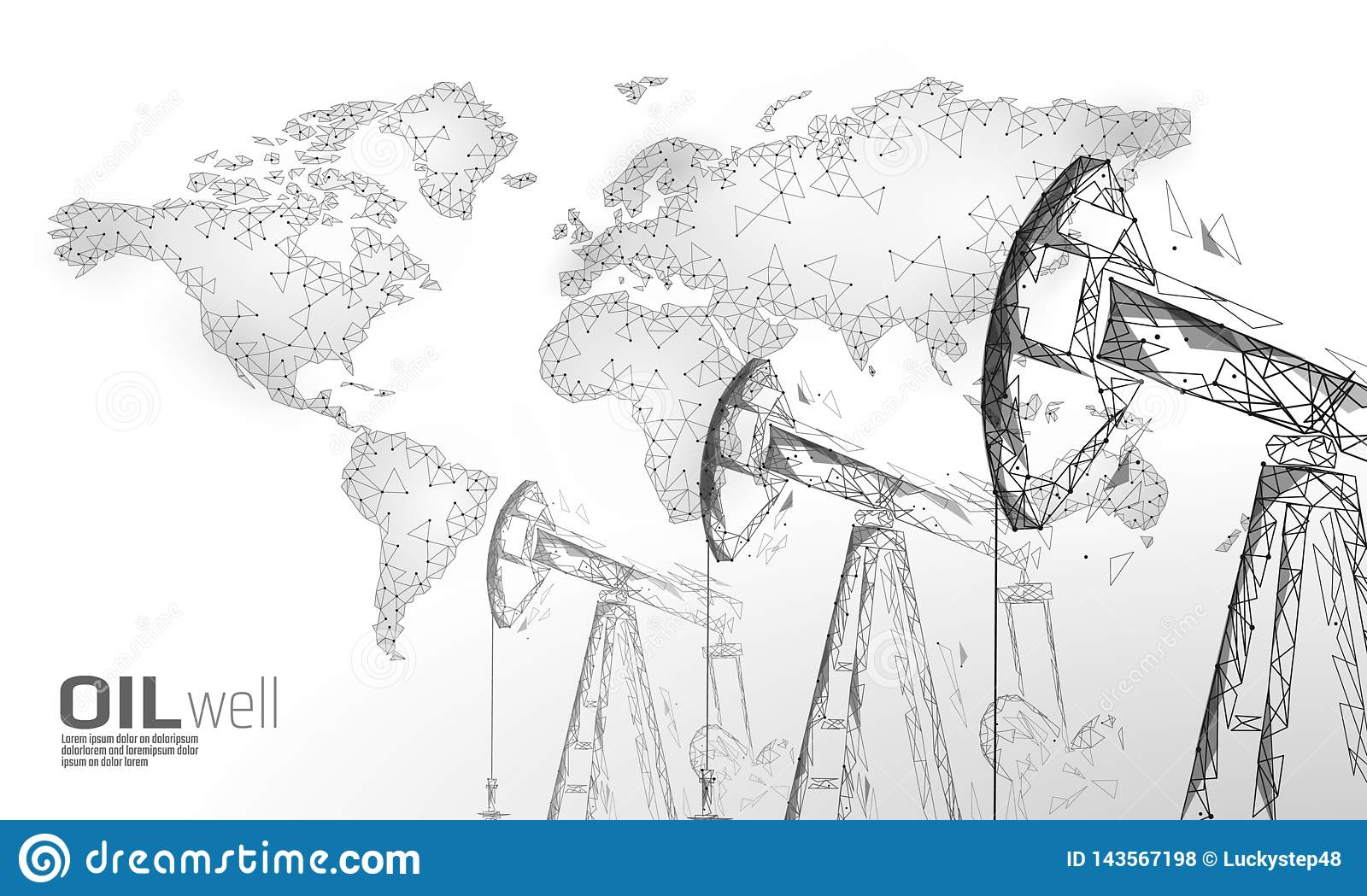 Oil well rig juck low poly business concept. Finance economy polygonal petrol production. Petroleum fuel industry