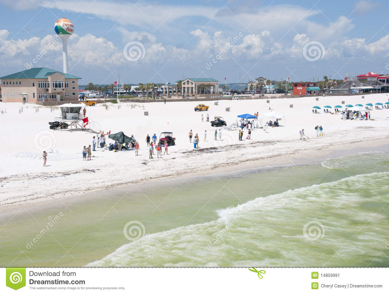 Oil workers replace tourists on Pensacola Beach