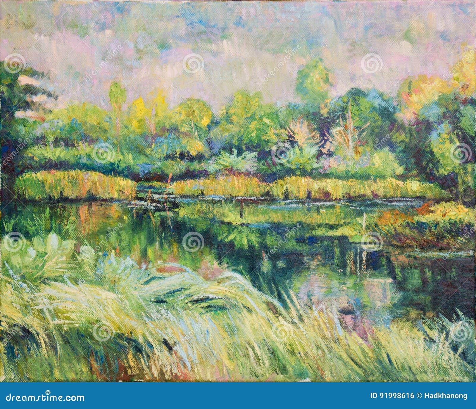 Oill风景颜色绘画在帆布的