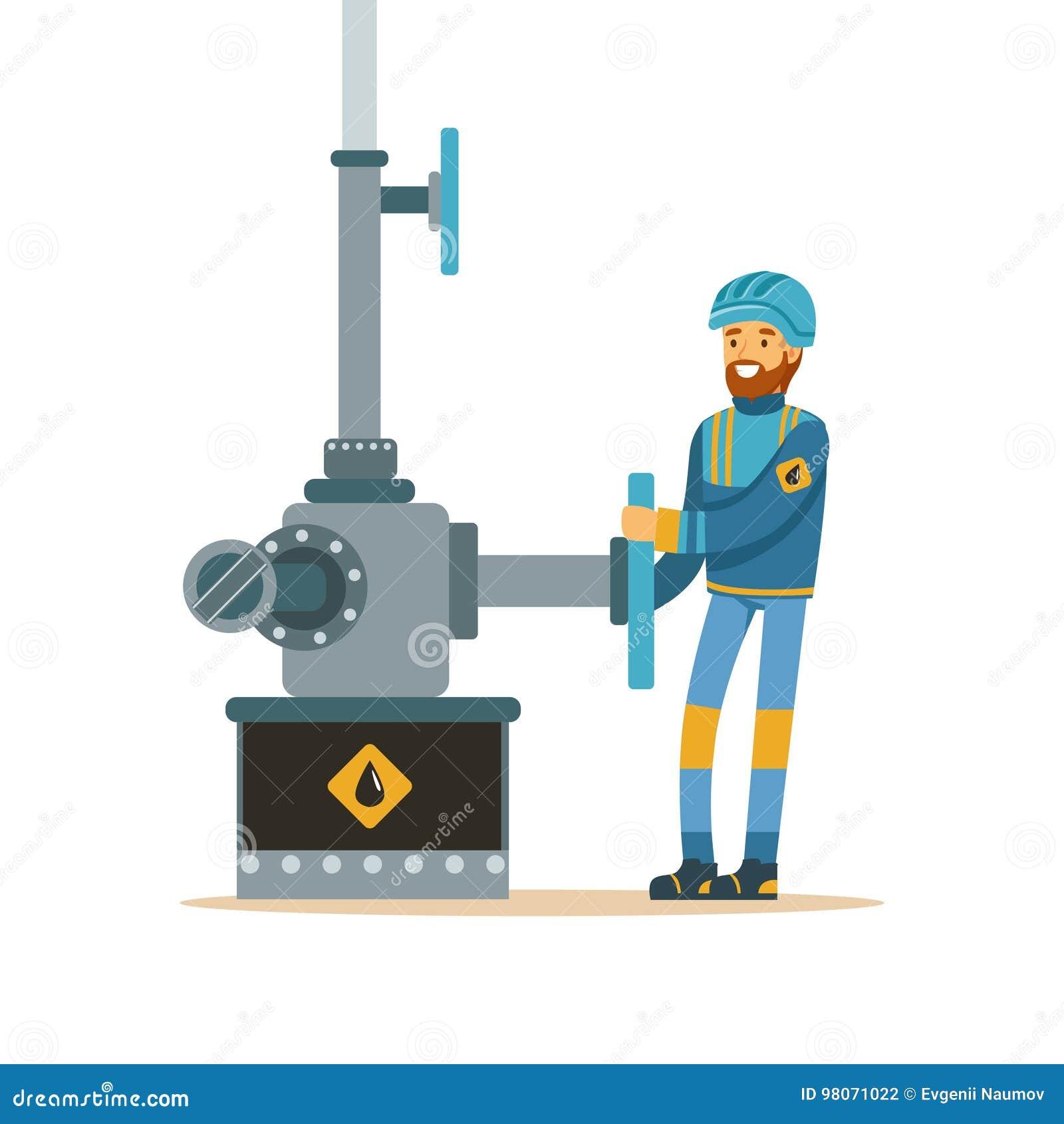 Oilman που λειτουργεί σε έναν πετρελαιαγωγό, μια εξαγωγή βιομηχανίας πετρελαίου και μια διανυσματική απεικόνιση παραγωγής εγκατασ