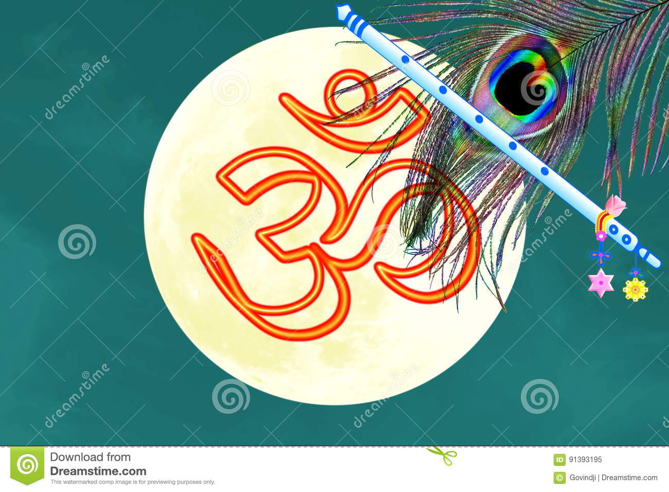 Oim Icon Flute And Peacock Feather Over Moon Background Stock Image