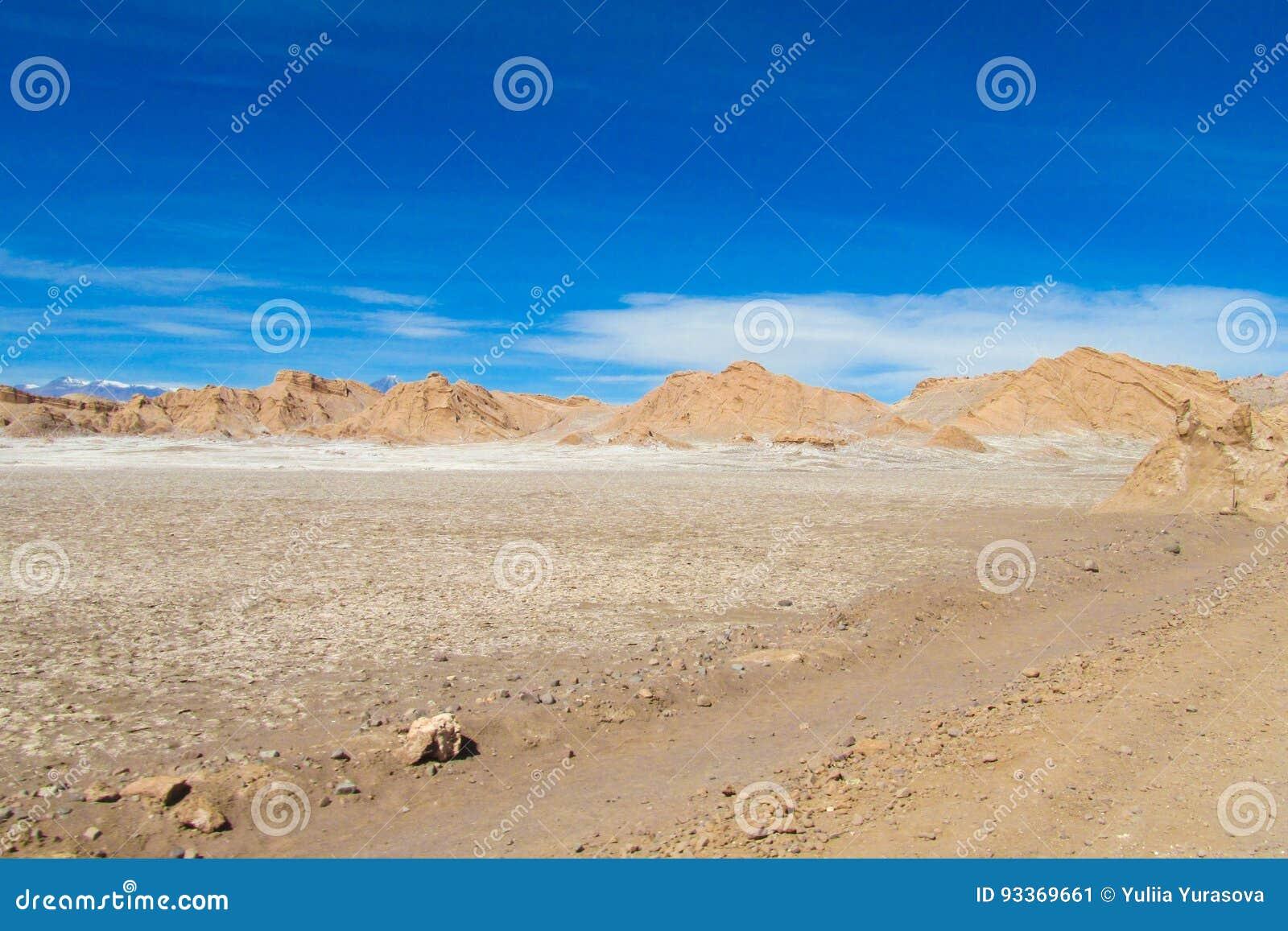 Ointressant landskap för Atacama öken