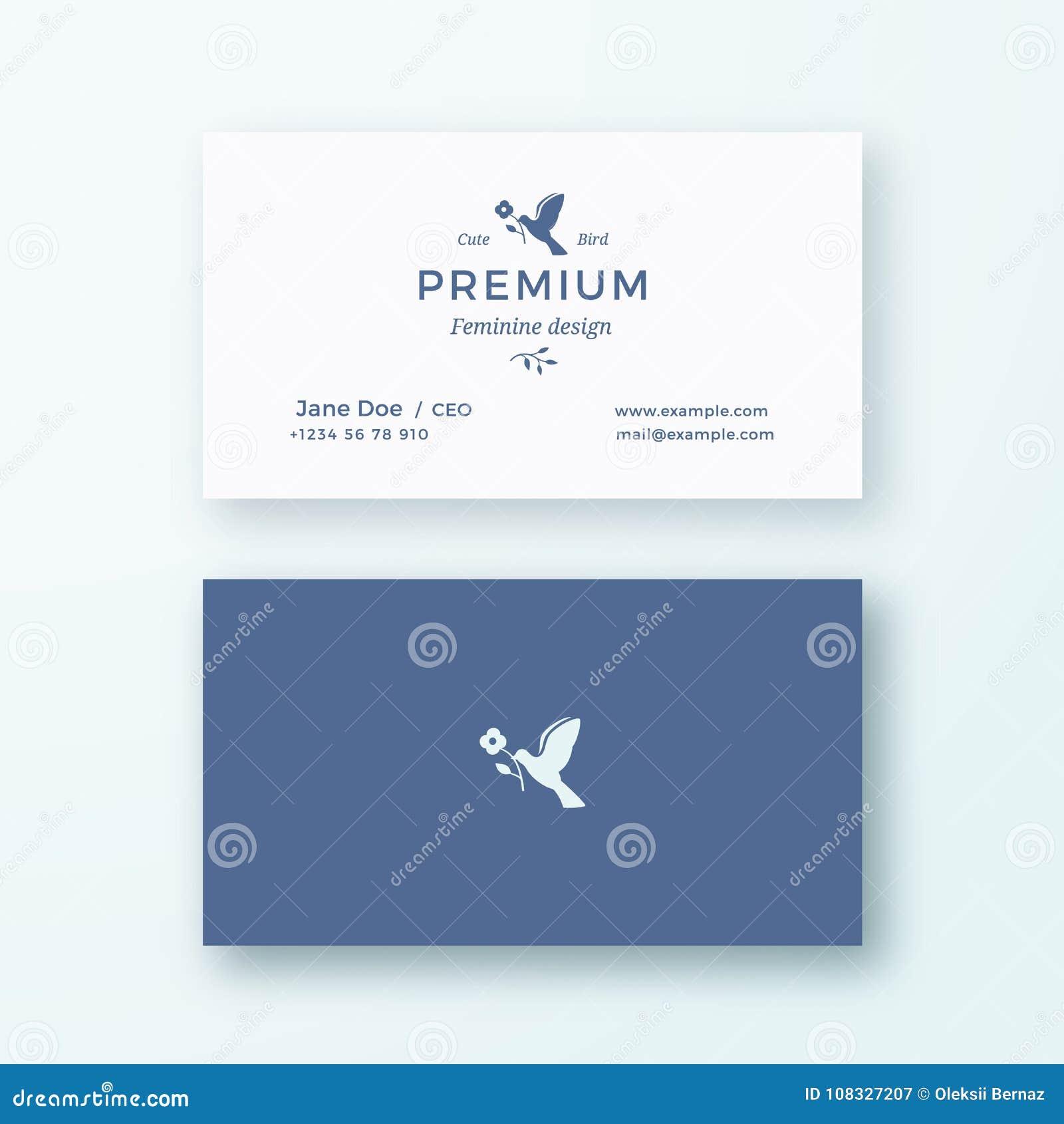 Oiseau Avec Une Fleur Signe De Vecteur Ou Calibre Fminins Abstraits Carte Visite Professionnelle
