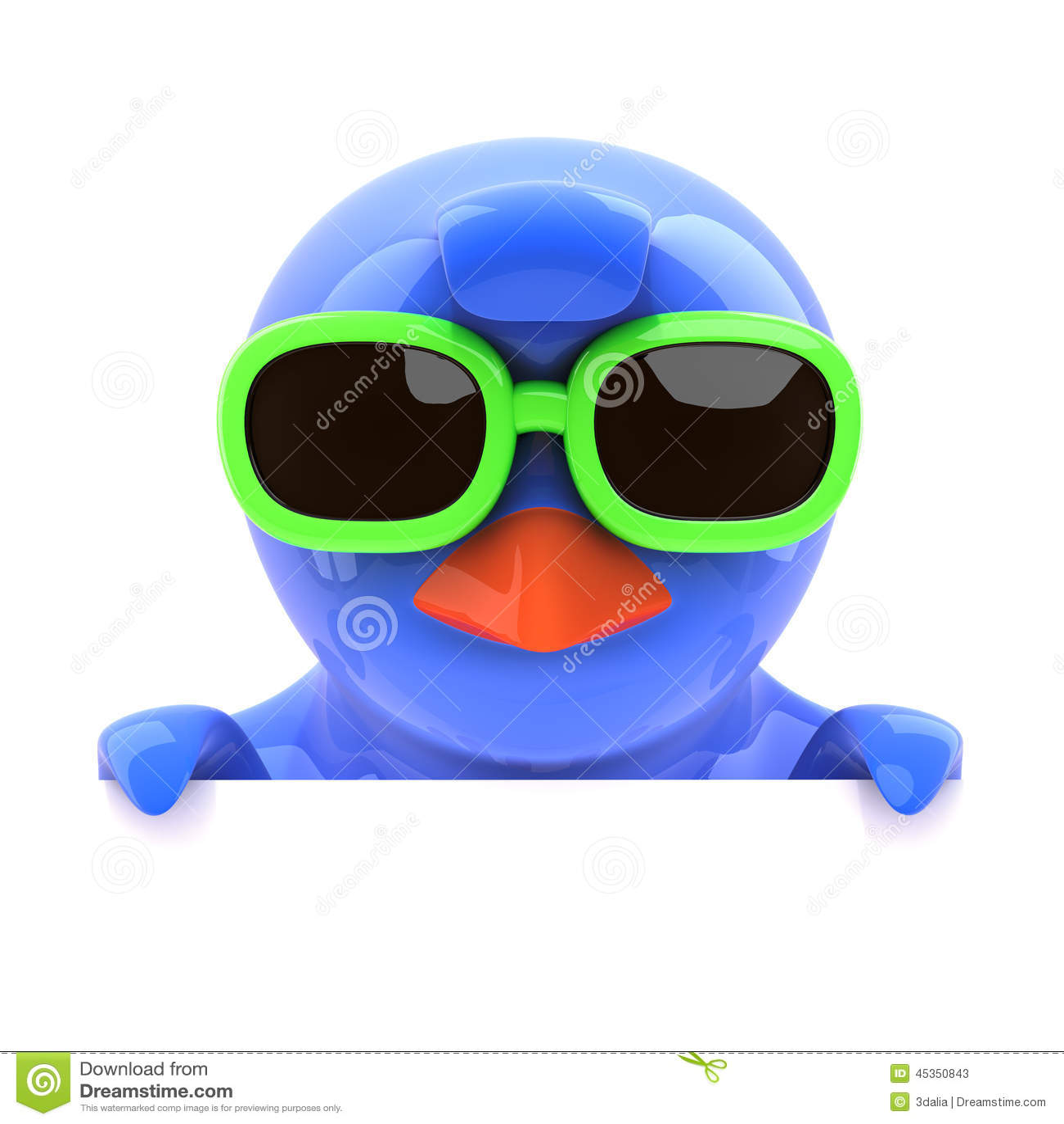 Oiseau bleu 3d regardant au-dessus du dessus dans des lunettes de soleil vertes