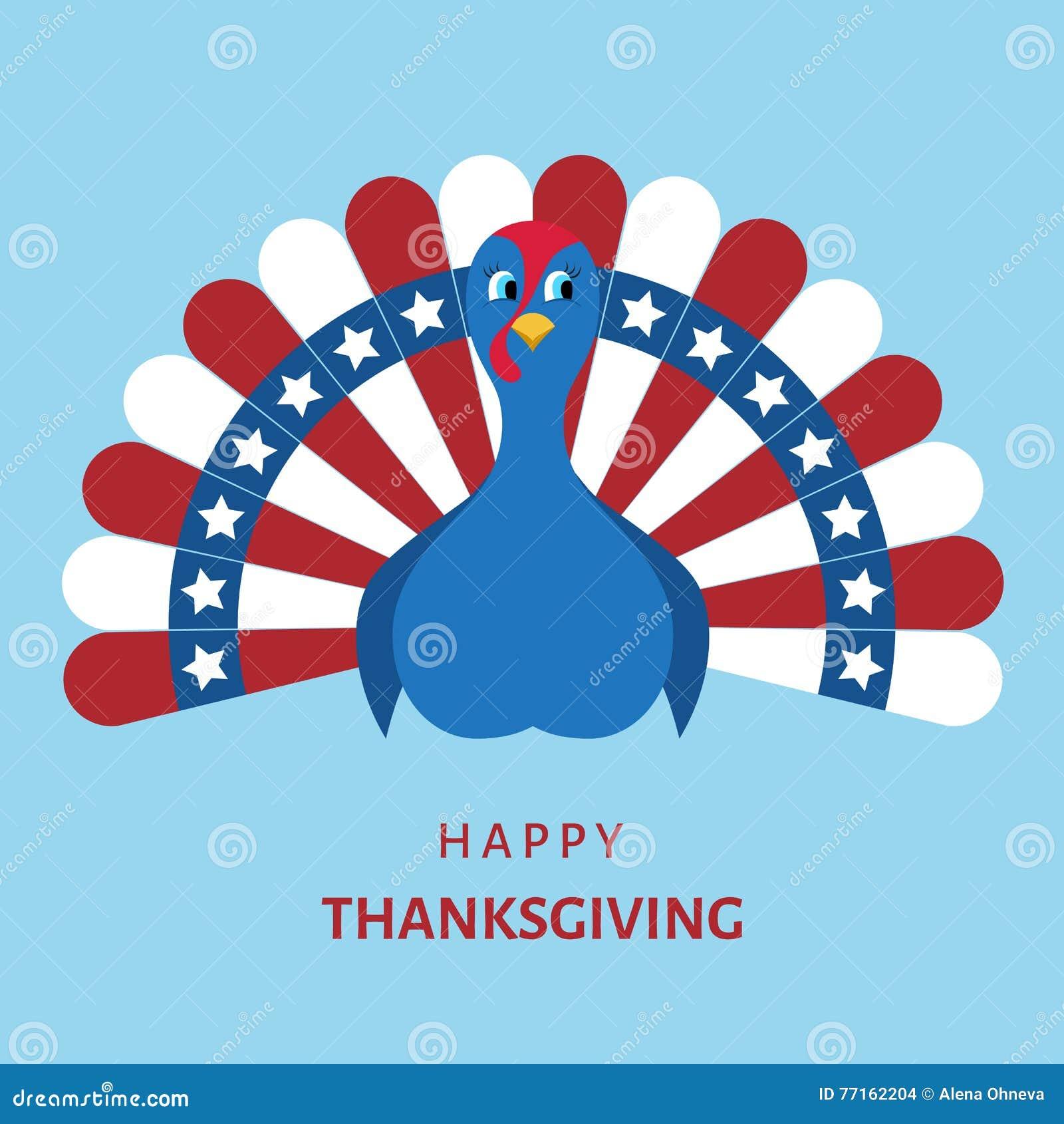Oiseau coloré de dinde de bande dessinée pour le jour heureux de thanksgiving