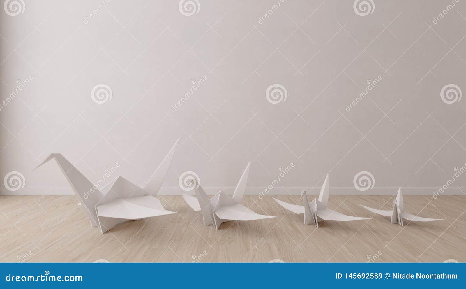 Oiseau d origami dans la chambre vide