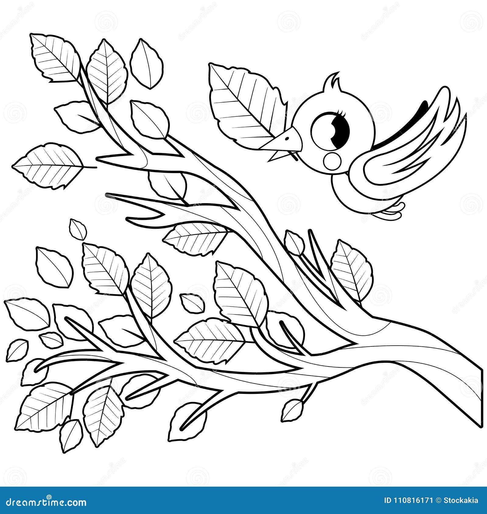 Coloriage Arbre Et Oiseau.Oiseau Dans Le Vol D Automne Et Branche D Arbre Avec Les Feuilles