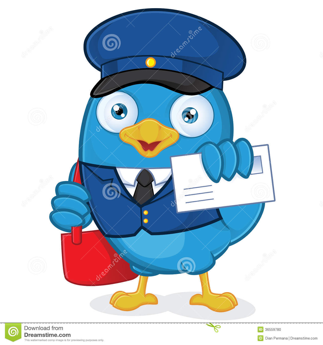 Oiseau de bleu de facteur illustration de vecteur illustration du delivery 36559780 - Facteur dessin ...