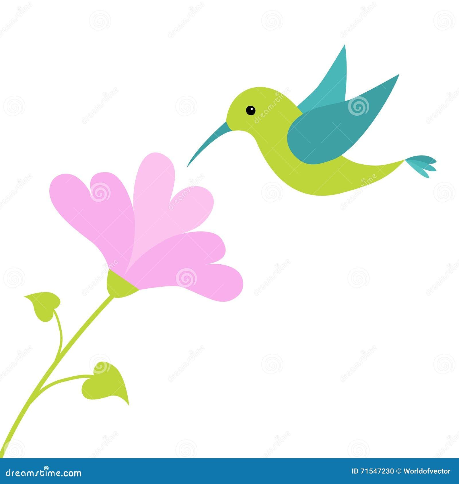 Oiseau de colibri de vol et fleur de coeur personnage de - Dessin oiseau en vol ...
