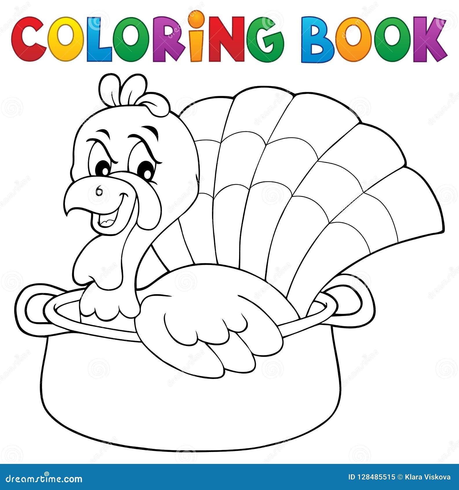 Oiseau De Dinde De Livre De Coloriage Dans Le Theme 1 De Casserole