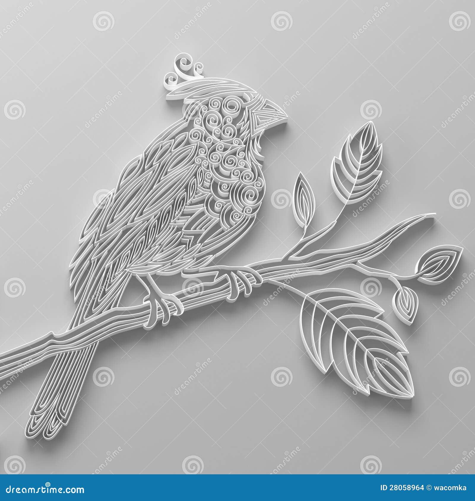 oiseau de papier quilling blanc images stock image 28058964. Black Bedroom Furniture Sets. Home Design Ideas