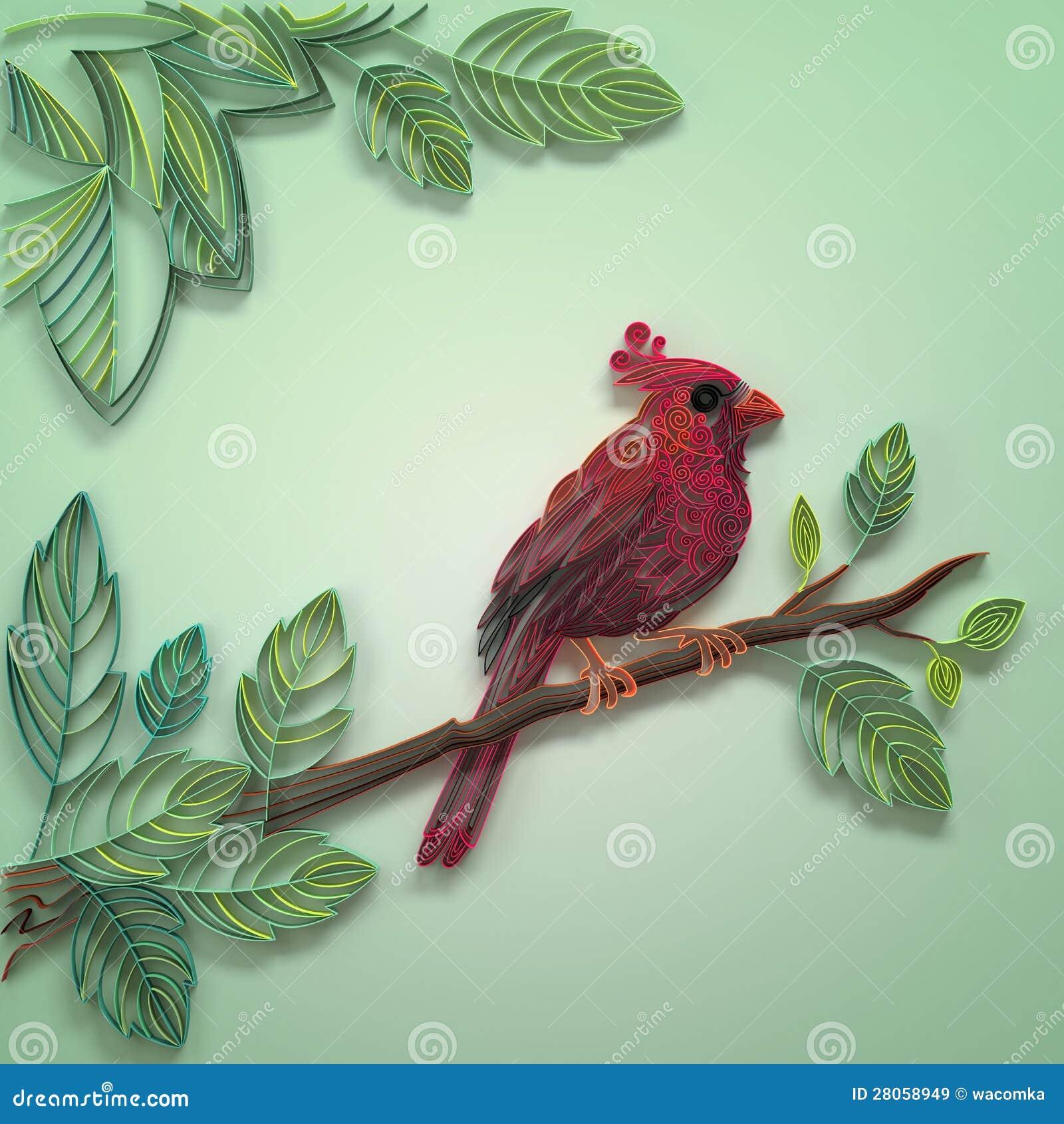 oiseau de papier quilling de couleur images libres de droits image 28058949. Black Bedroom Furniture Sets. Home Design Ideas