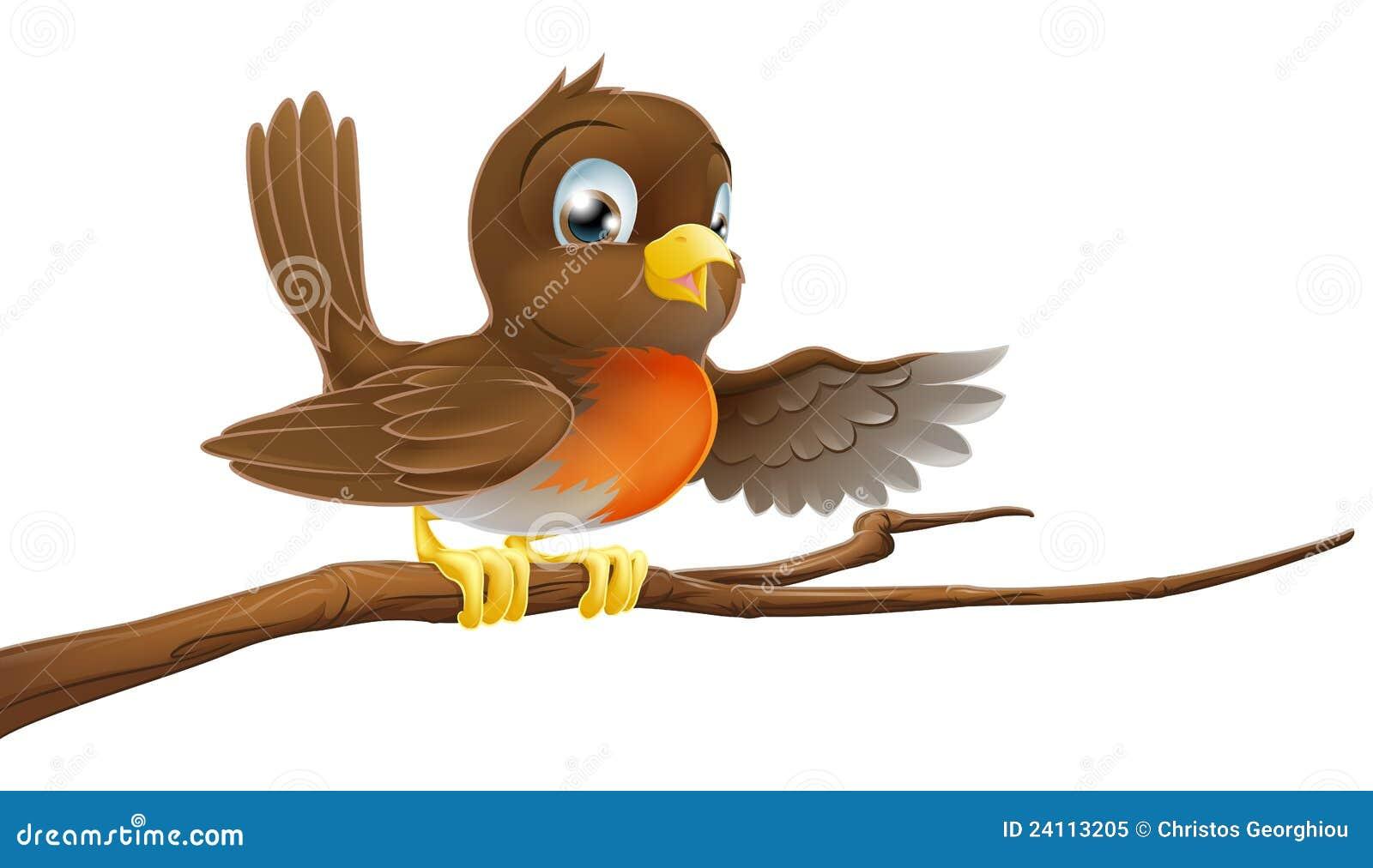 Oiseau de Robin sur le pointage de branchement