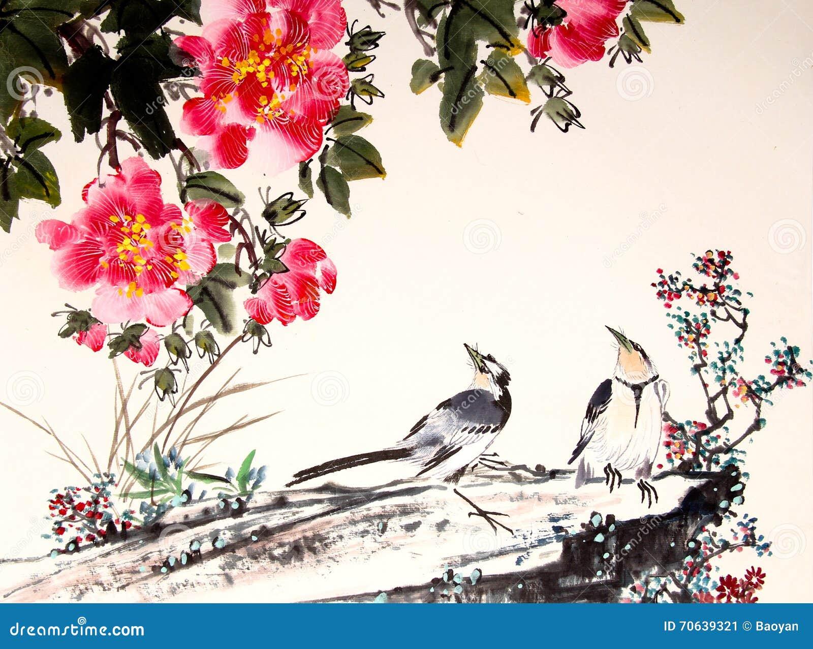Oiseau Et Arbre Chinois De Peinture D Encre Illustration