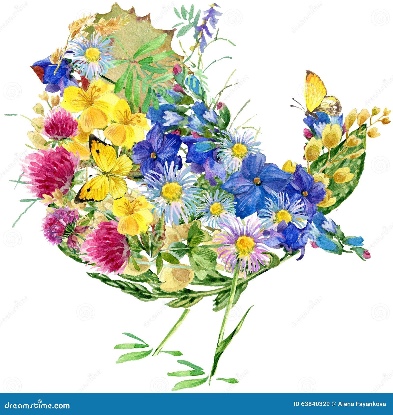 Oiseau fleurs et papillons d 39 aquarelle illustration stock - Image papillon et fleur ...