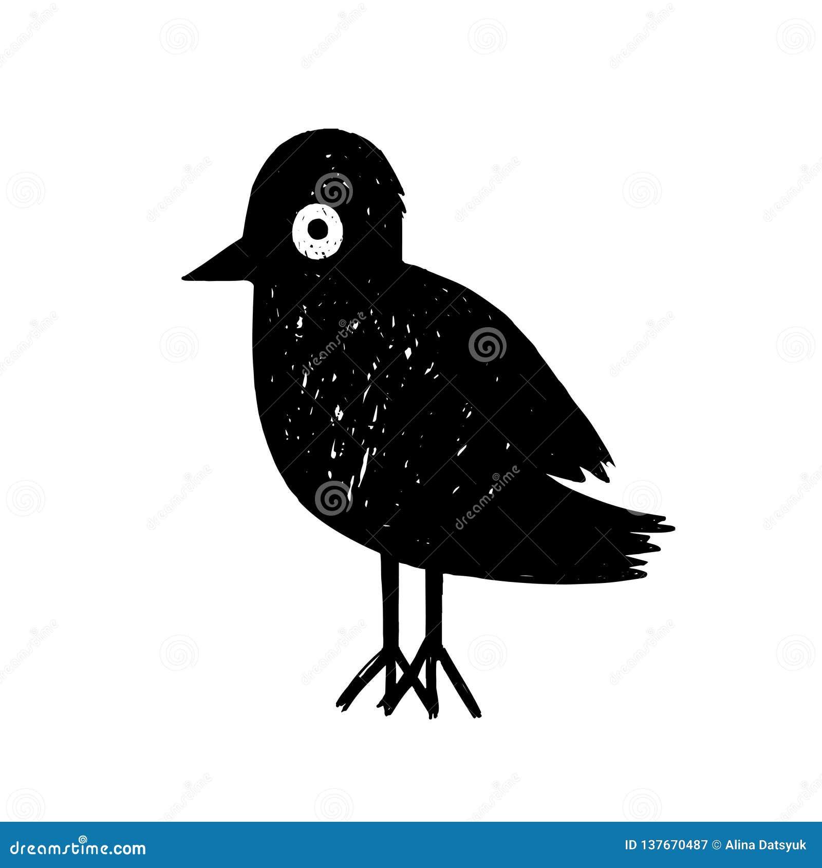 Oiseau Noir De Bande Dessinée Personnage De Dessin Animé