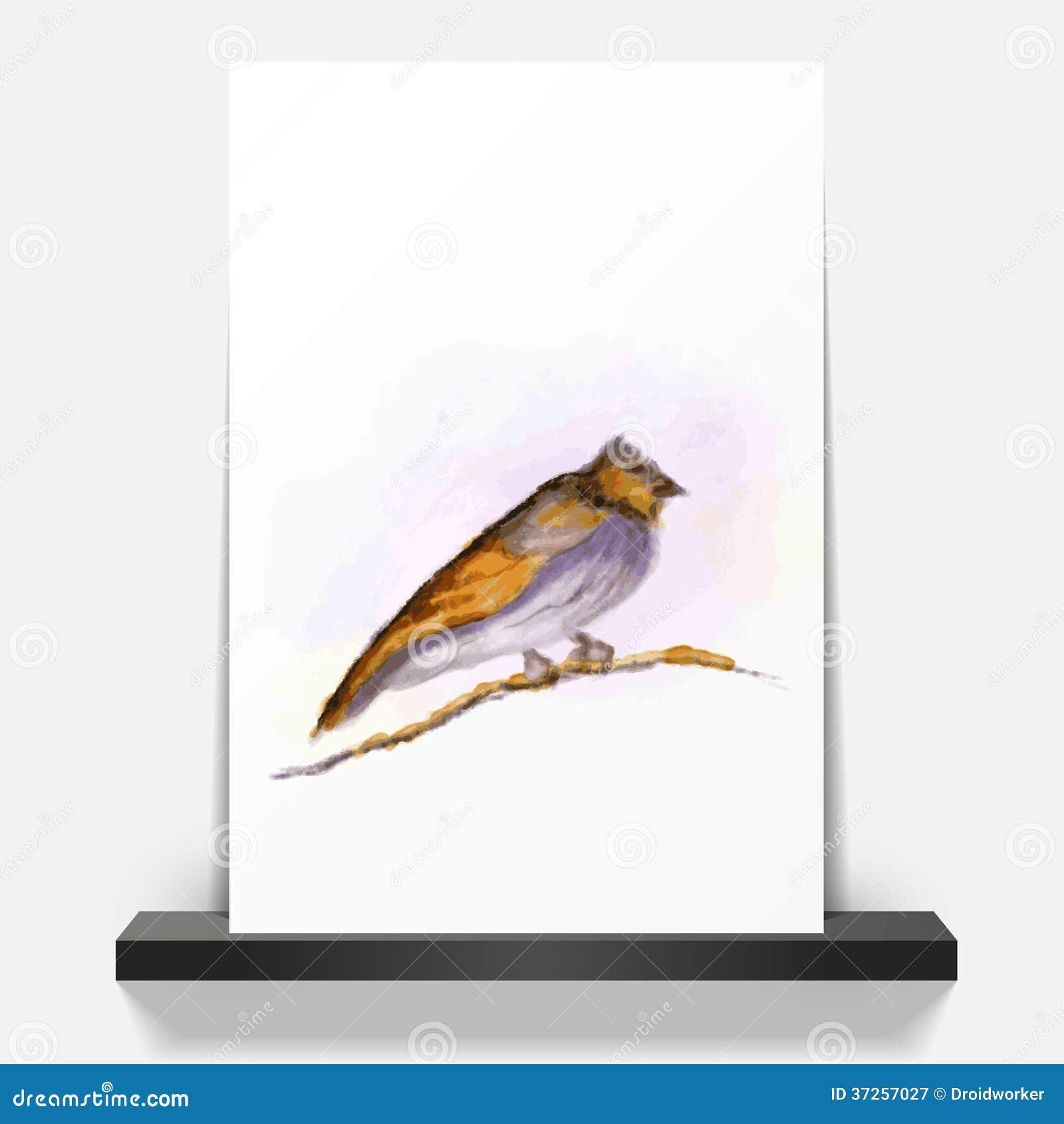 Oiseau peint par aquarelle sur la brochure photographie for Oiseau par la couleur