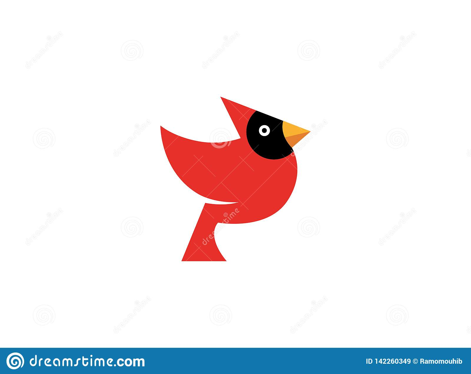 Oiseau rouge avec le visage noir et le bec jaune