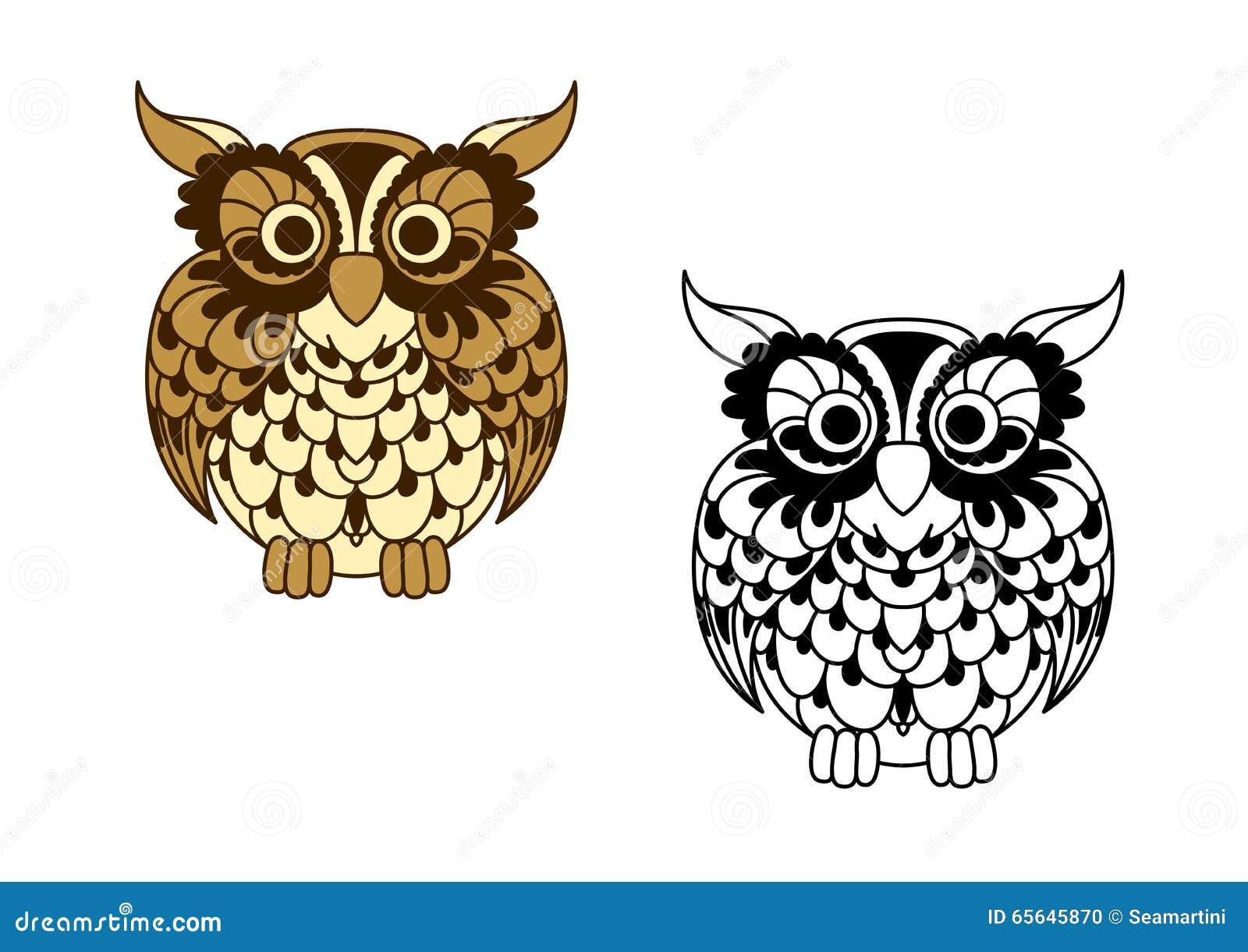 Oiseau sans couleur de bande dessinée de Brown et de hibou d ensemble