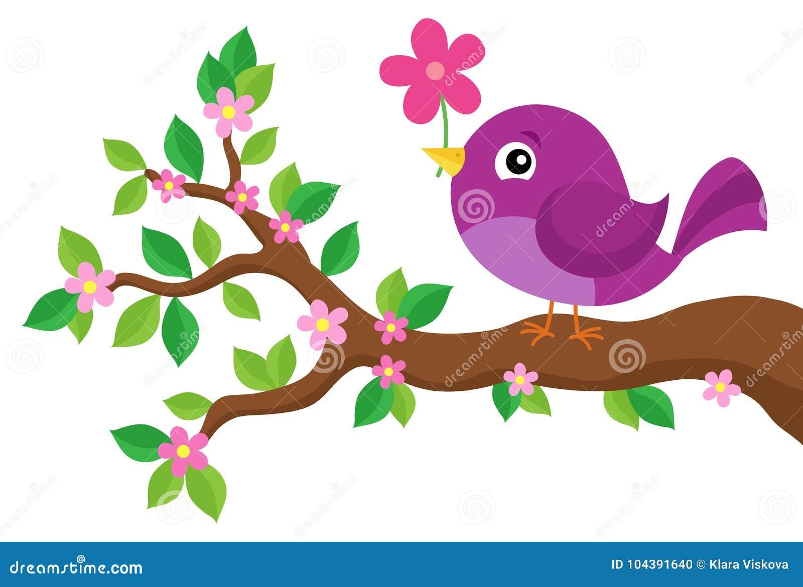 Oiseau stylisé sur le thème 4 de branche de ressort
