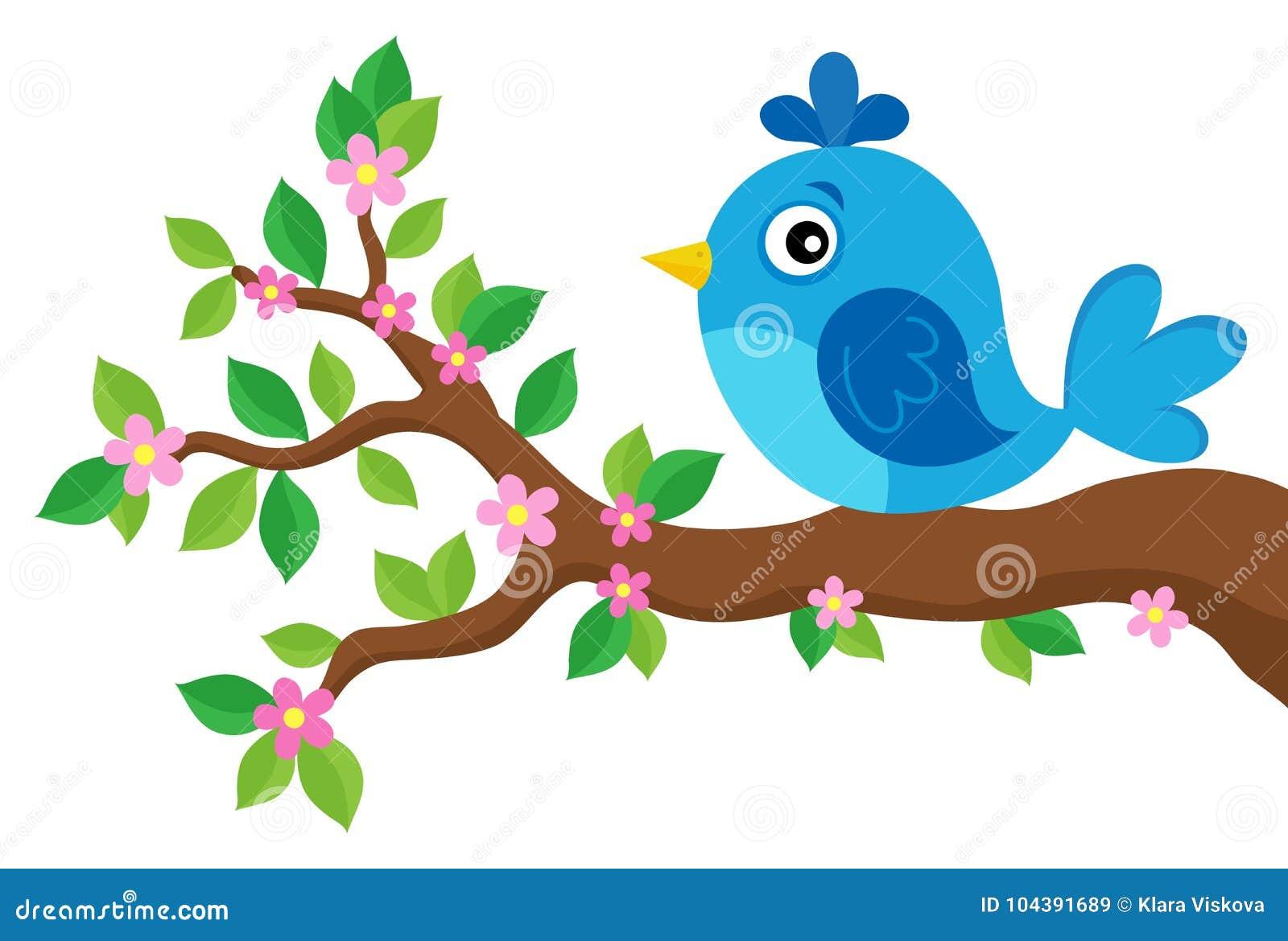 Oiseau stylisé sur le thème 3 de branche de ressort