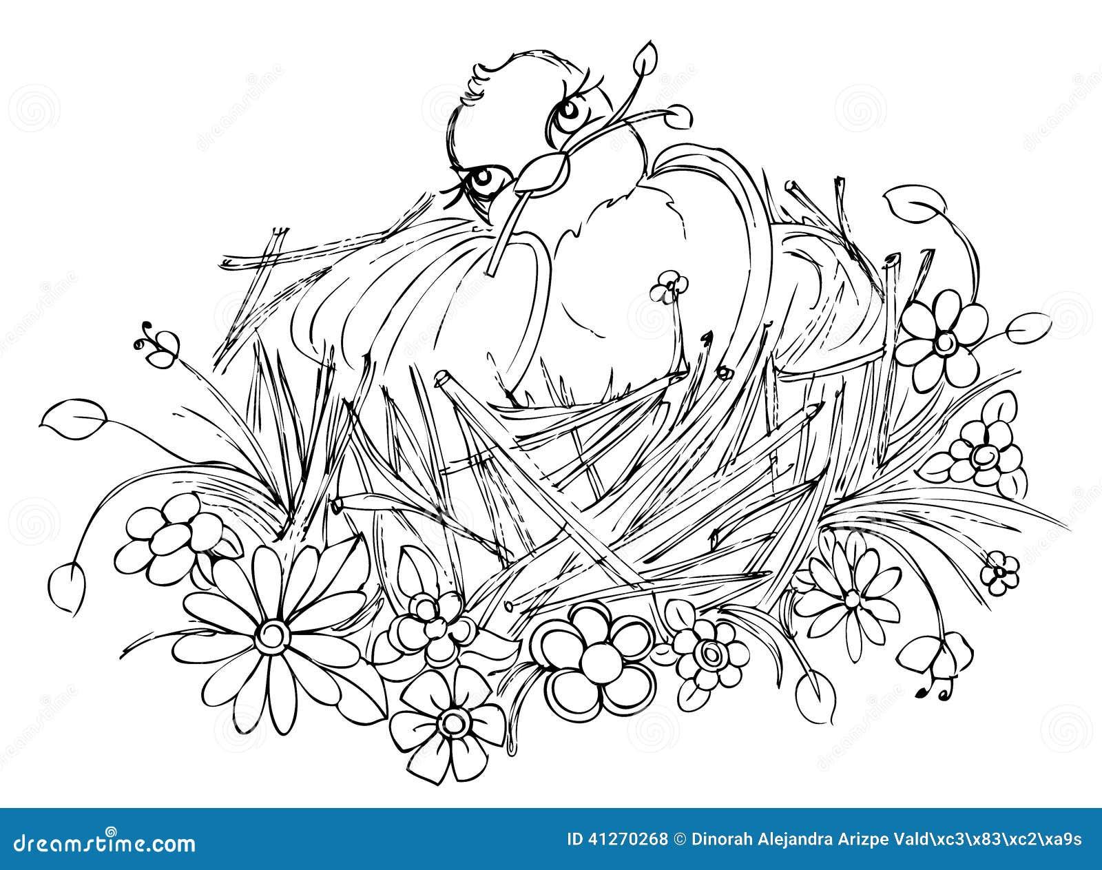 Oiseau sur le dessin de nid illustration stock image - Dessin d oiseau ...