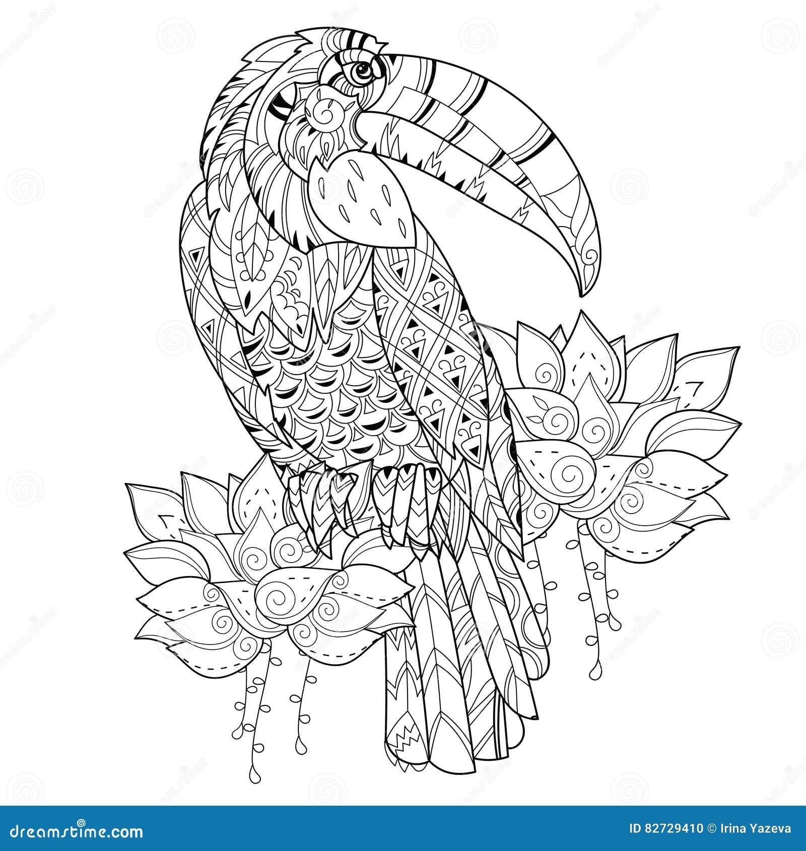 Oiseau Tropical Stylisé Vecteur Tiré Par La Main