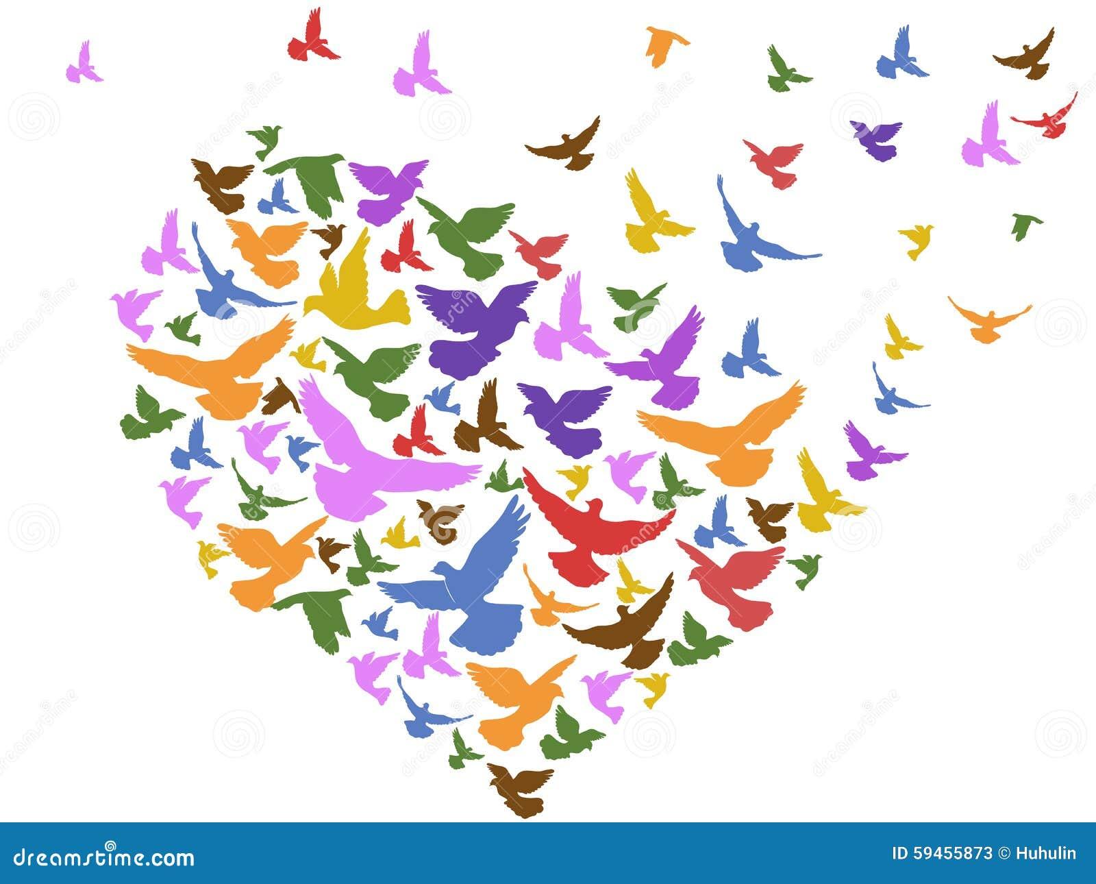 oiseaux de couleur volant avec le coeur illustration de Blank House Clip Art Silhouette Cameo Silhouette Clip Art