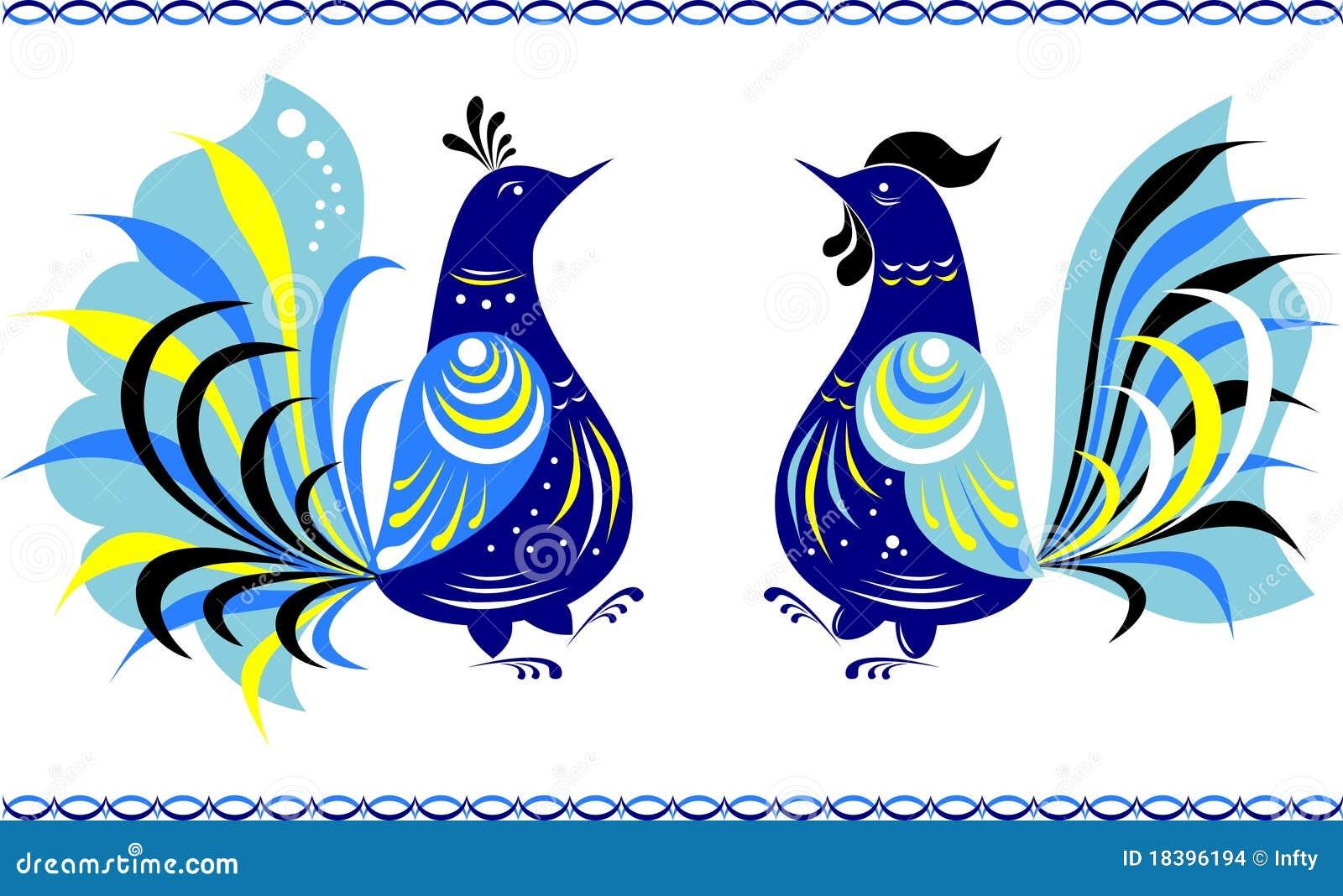 oiseaux de danse dans le type de peinture de gorodets illustration de vecteur illustration du. Black Bedroom Furniture Sets. Home Design Ideas