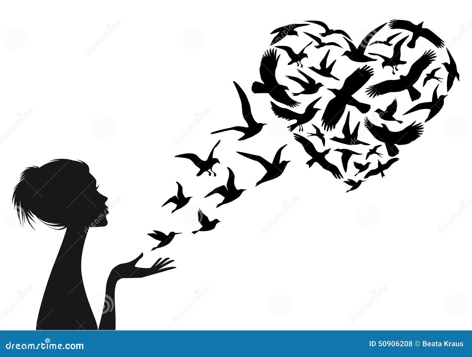 Oiseaux De Vol En Forme De Coeur, Vecteur Illustration de Vecteur ...Dove Bird Drawing Tattoo