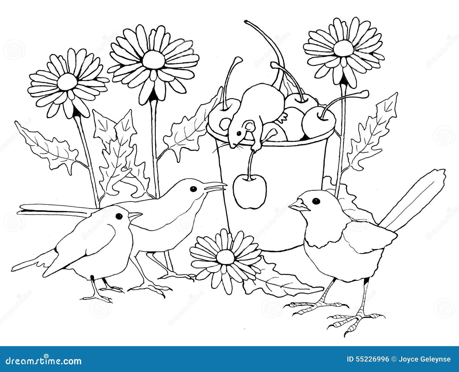 Oiseaux Et Souris Avec Des Fleurs Page De Coloration