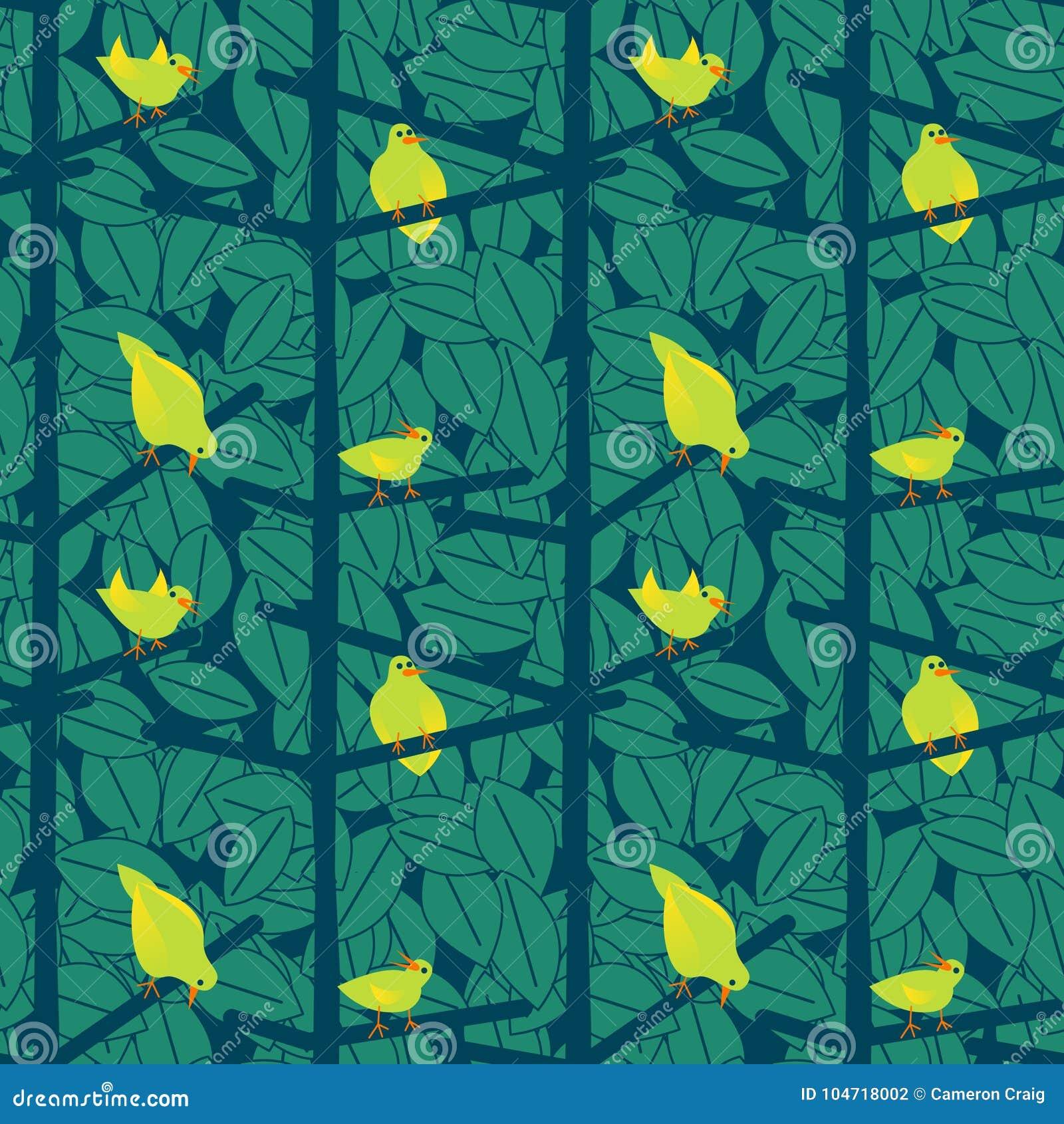 Oiseaux scandinaves dans un modèle de Bush - illustration
