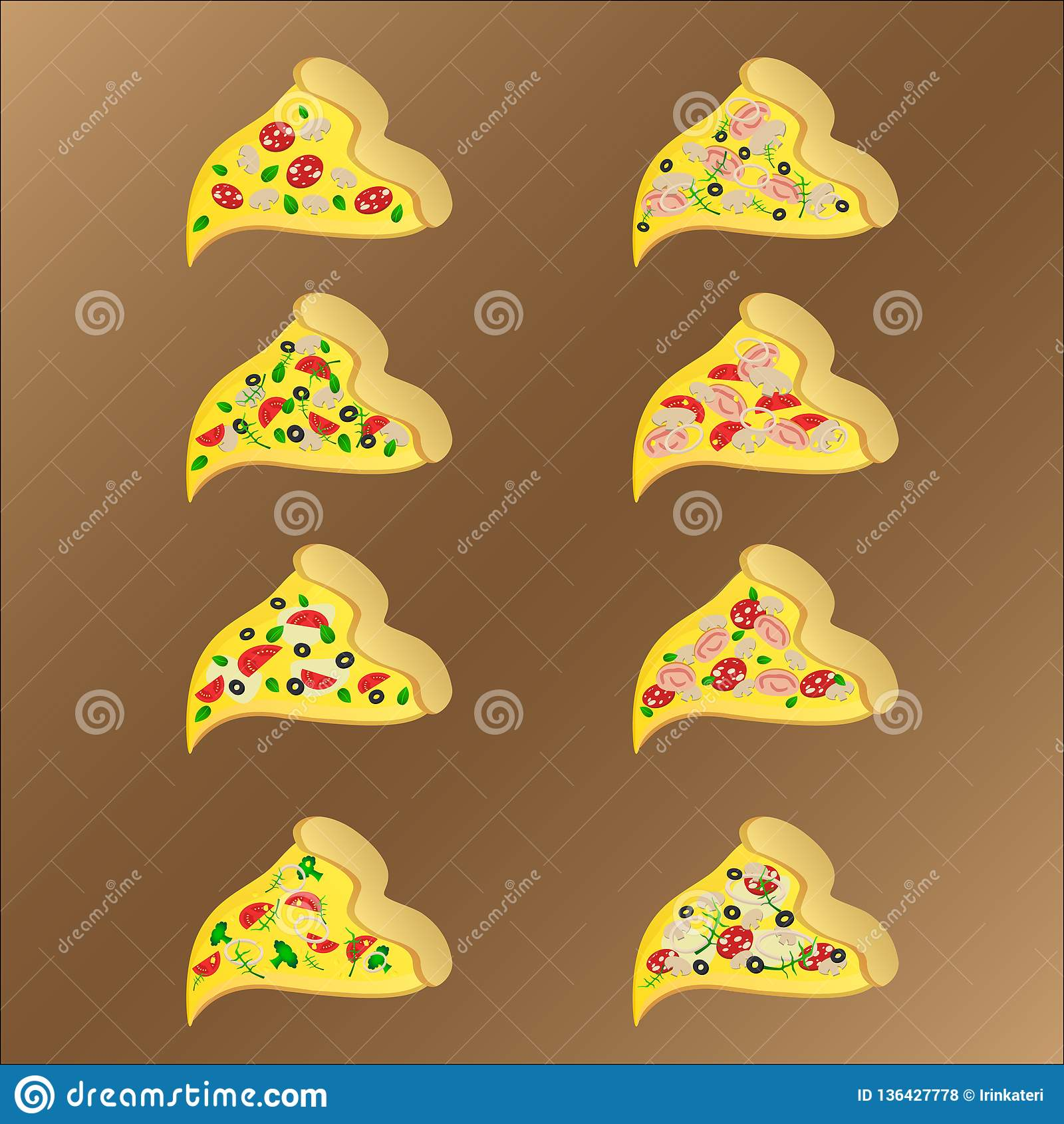 Oito fatias de pizza vegeterian e da carne com queijo