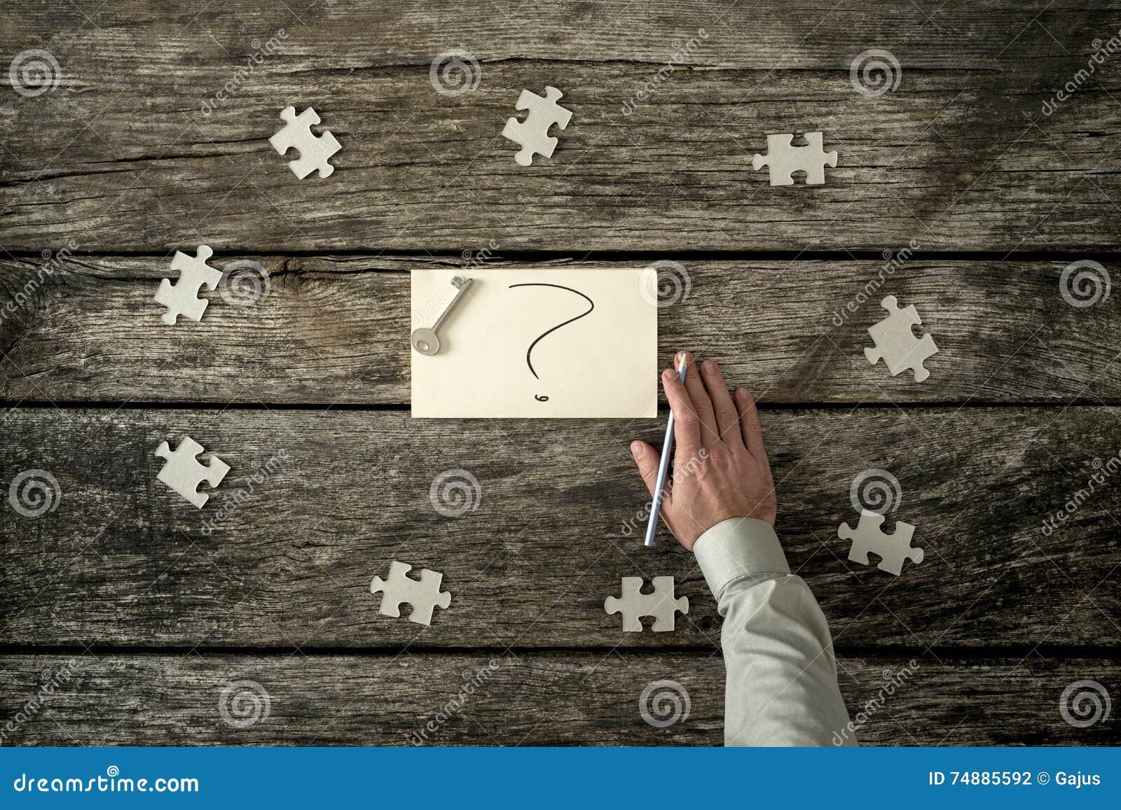 Oito partes do enigma em torno do ponto de interrogação e da mão