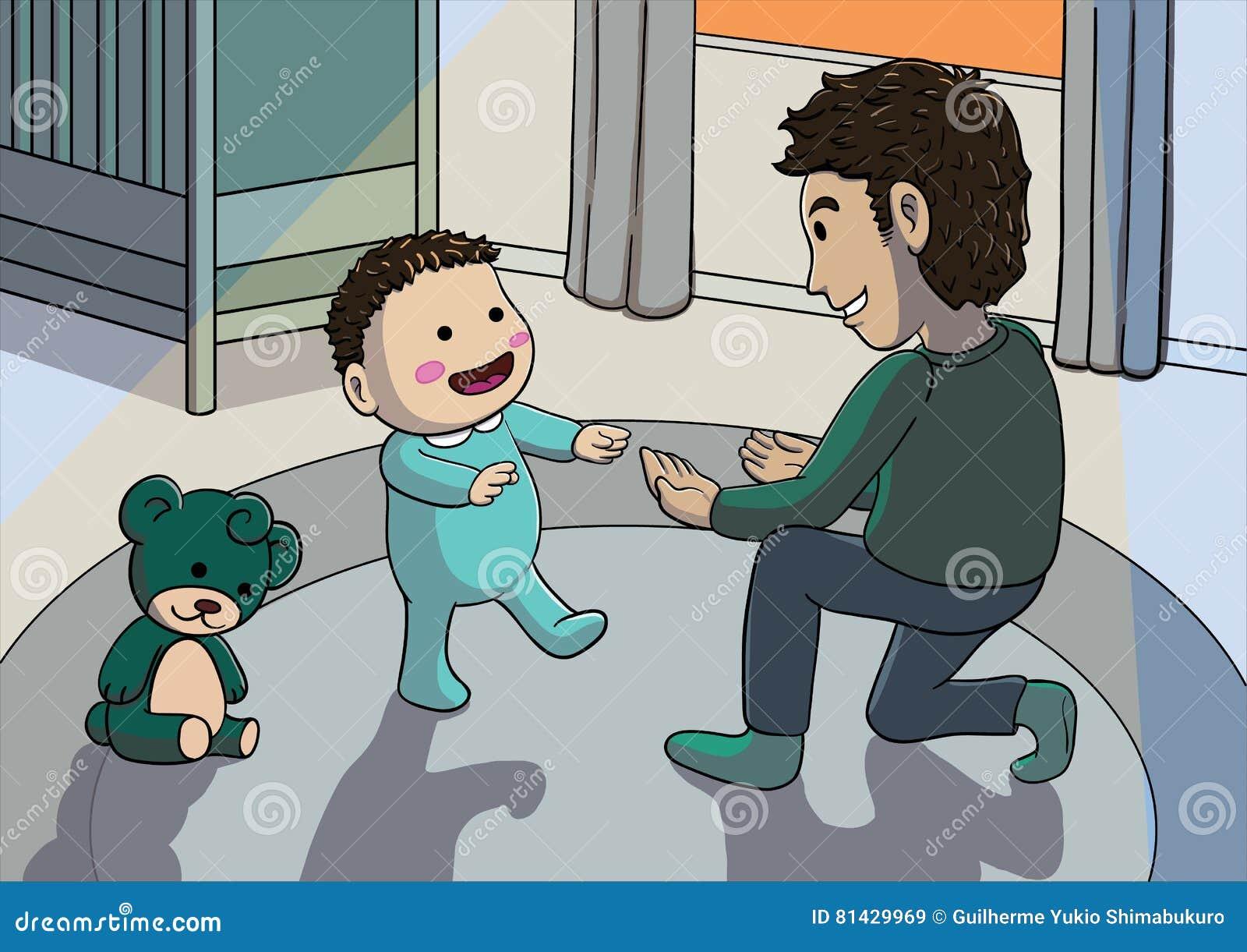 Ojca pomaga dziecko na jego pierwszych krokach