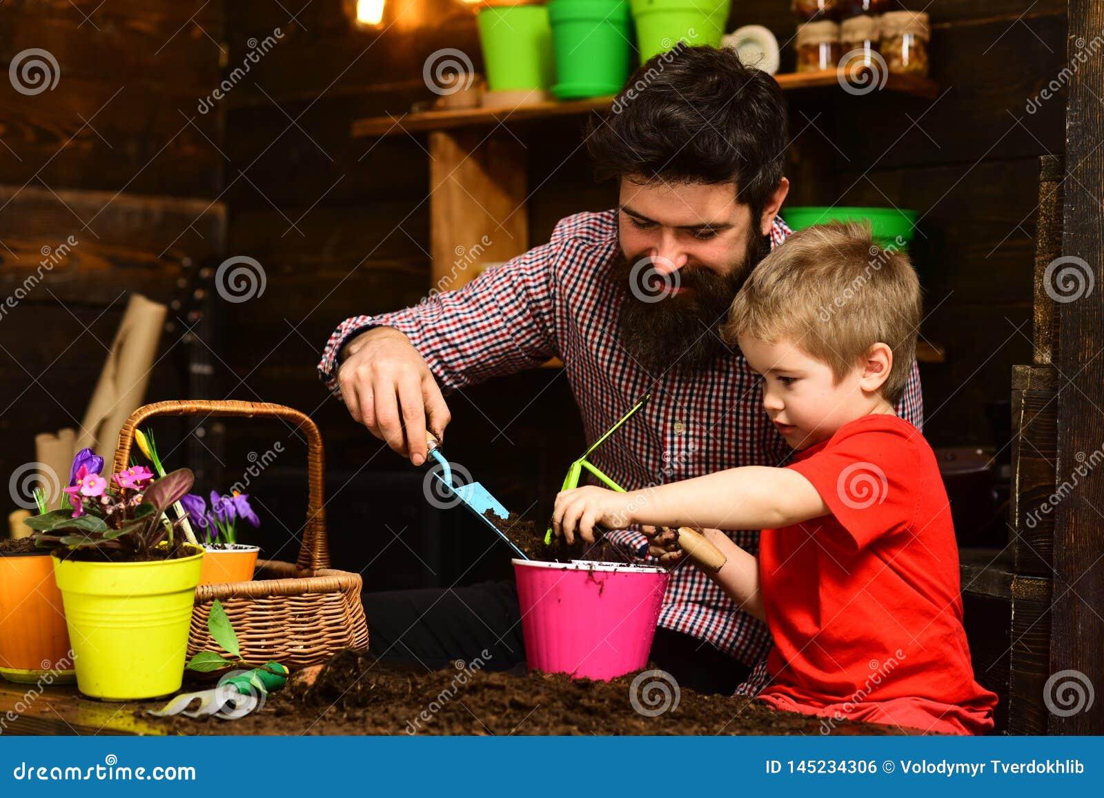 Ojciec i syn Ojca dzie? Rodzinny dzie? charcica Kwiat opieki podlewanie Glebowi u?y?niacze ogrodniczki z wiosn?