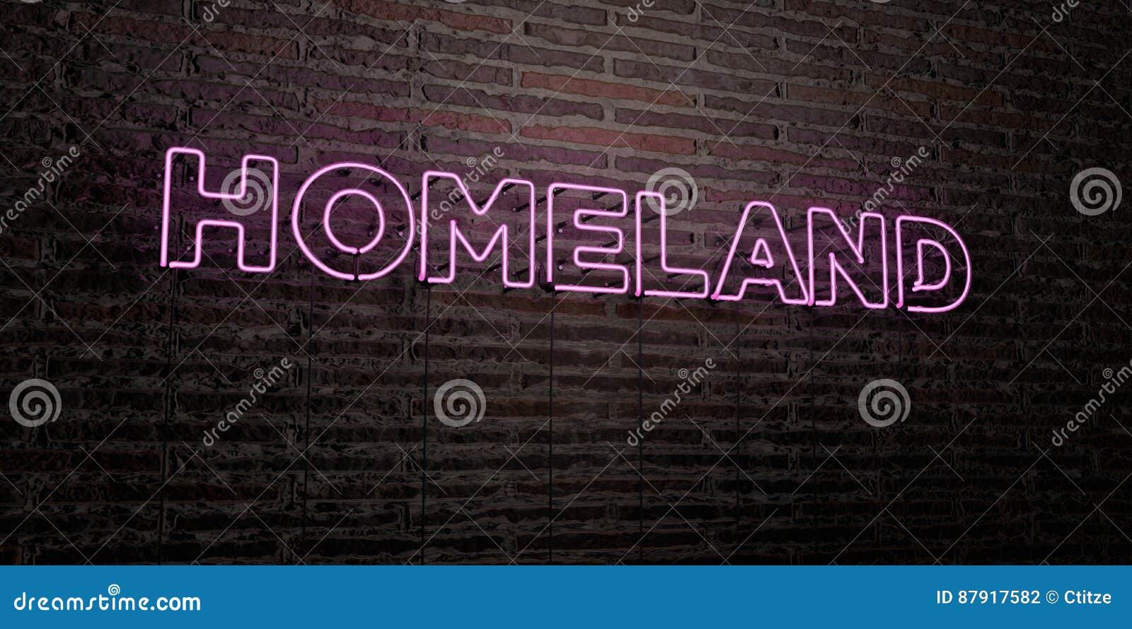 OJCZYZNA - Realistyczny Neonowy znak na ściana z cegieł tle - 3D odpłacający się królewskość bezpłatny akcyjny wizerunek