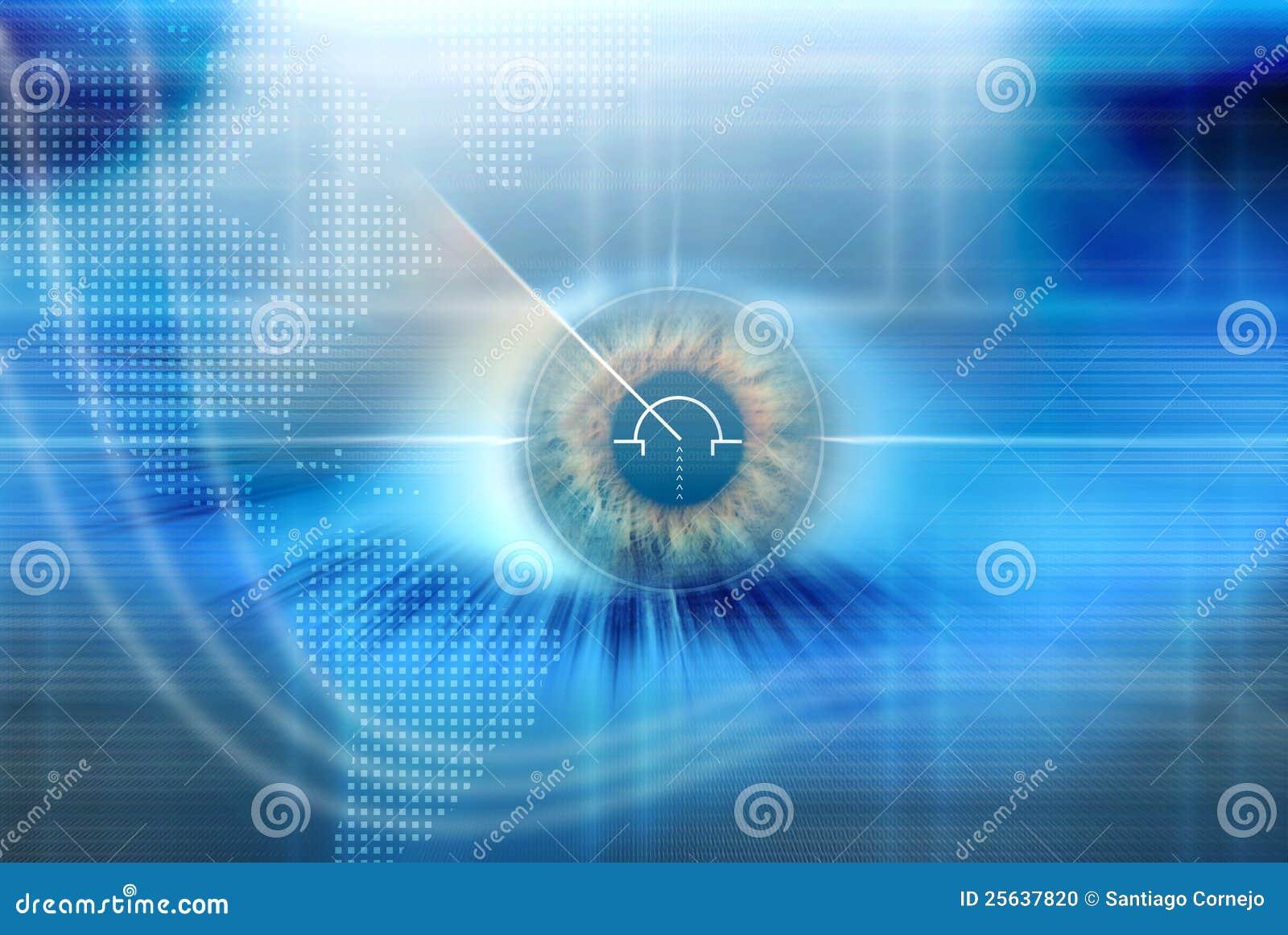 Ojo de alta tecnología con el fondo azul
