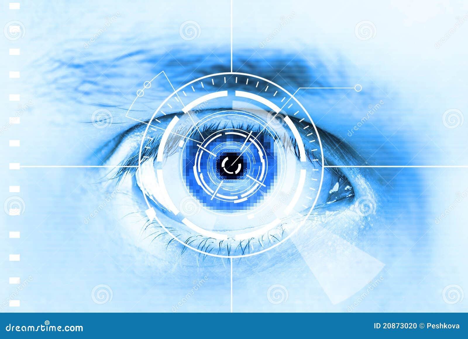 Ojo de la exploración de la tecnología para la seguridad o la identificación