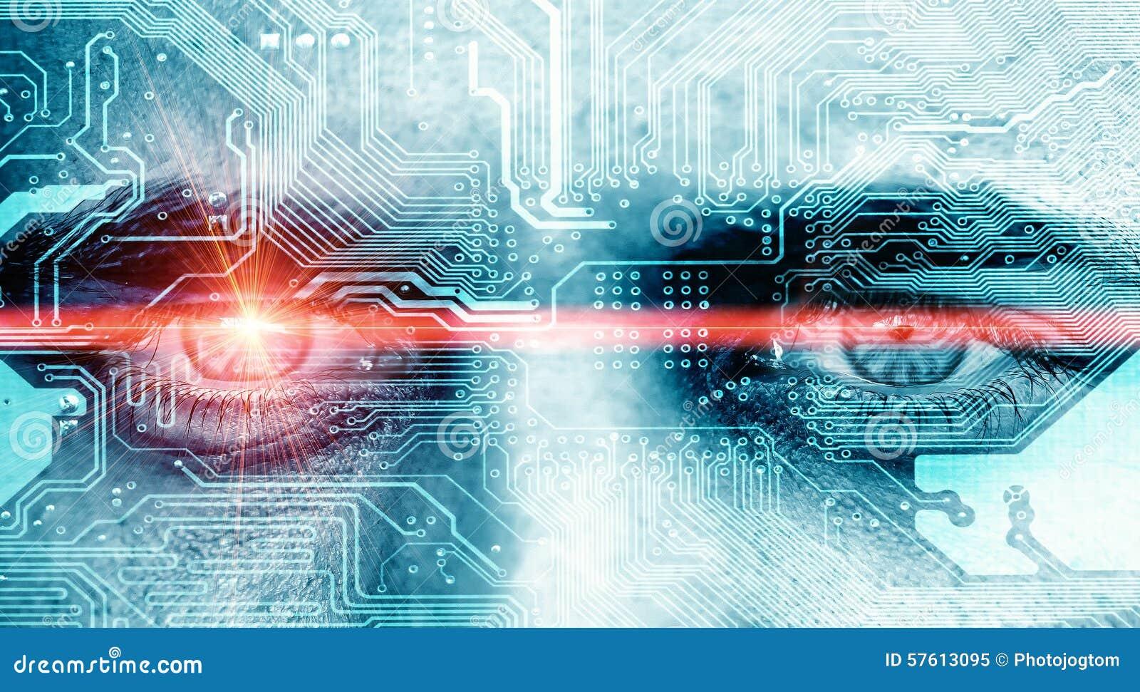 Ojo de los datos con el rayo del laser