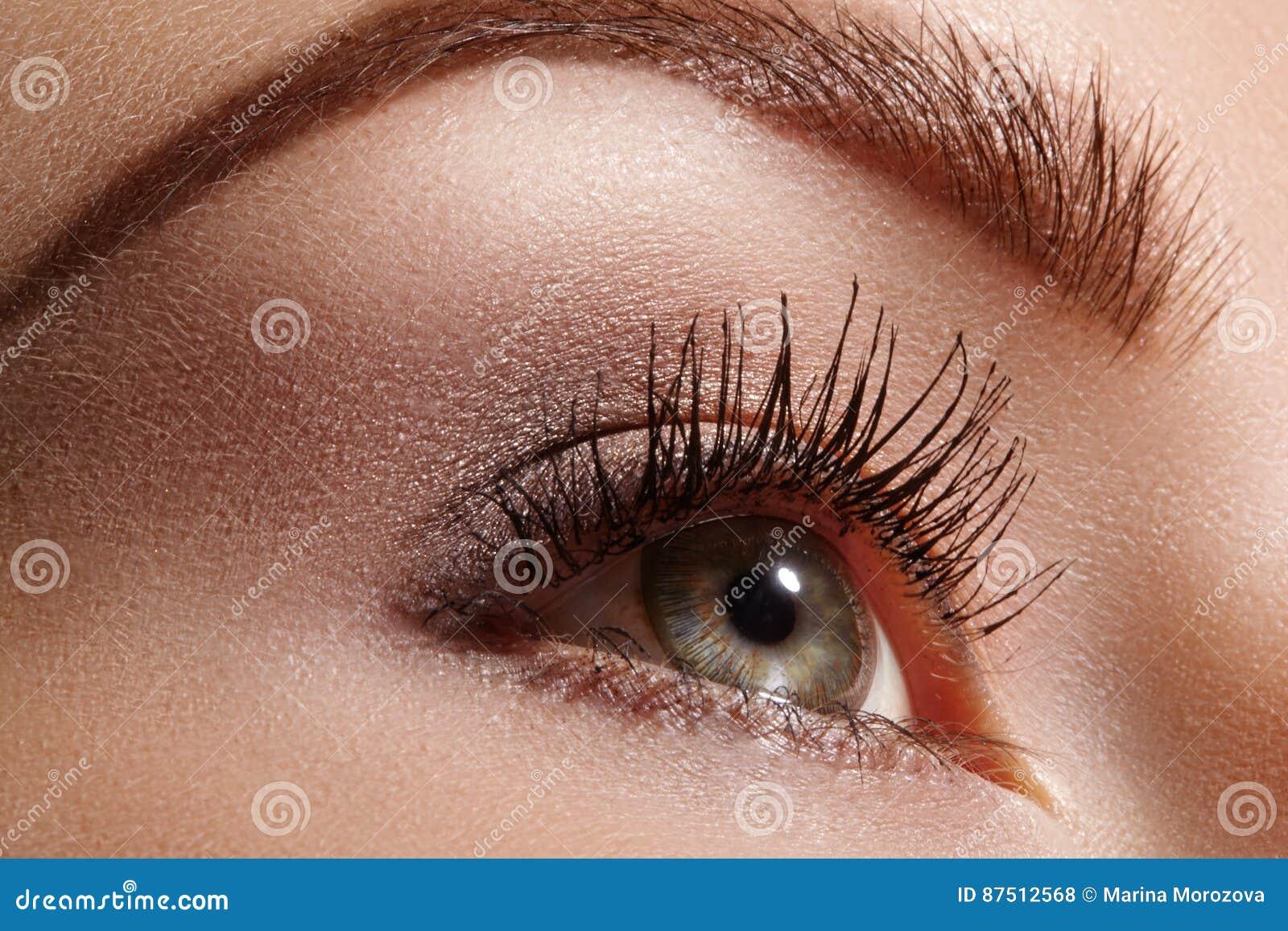 Ojo femenino hermoso con las pestañas largas extremas, maquillaje negro del trazador de líneas Maquillaje perfecto, latigazos lar
